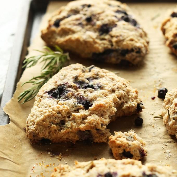 Tray of freshly baked Vegan Blueberry Rosemary scones