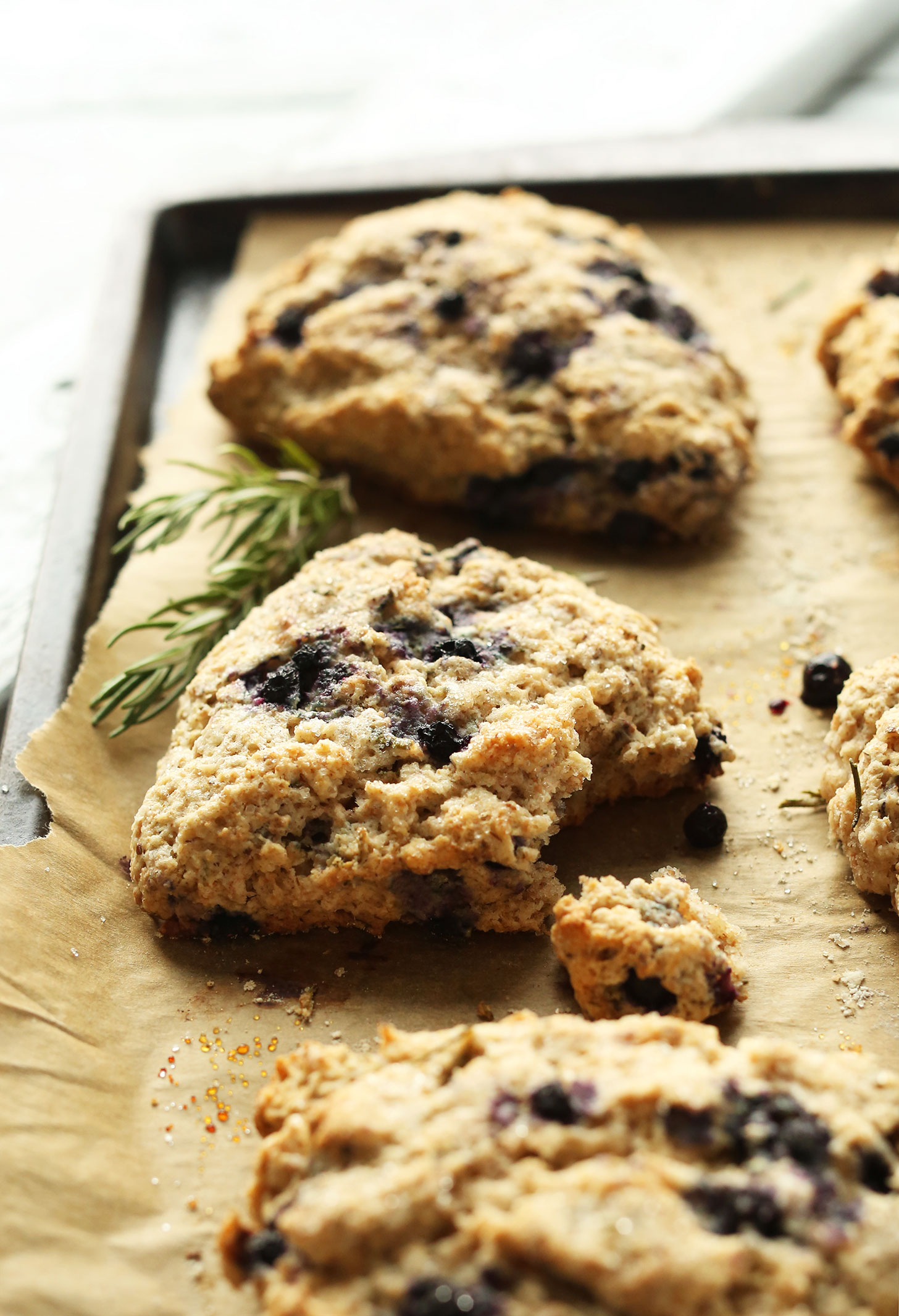 Delicious 30-Minute Rosemary Blueberry Scones made with spelt flour, coconut oil, and fresh rosemary