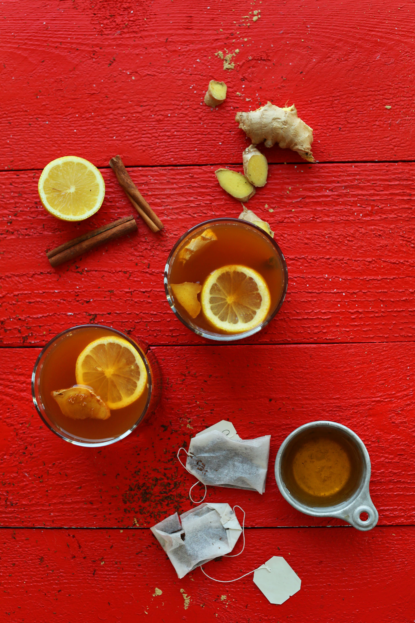 Glasses of our Apple Cider Rooibos Hot Toddy recipe for a healthy cocktail