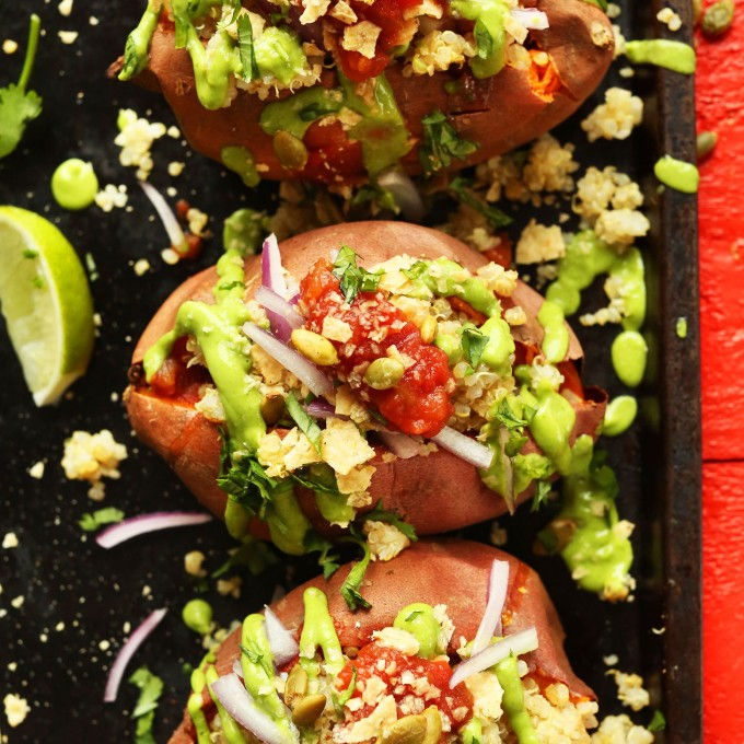 Tray of our healthy Quinoa Stuffed Sweet Potatoes recipe for a gluten-free vegan dinner