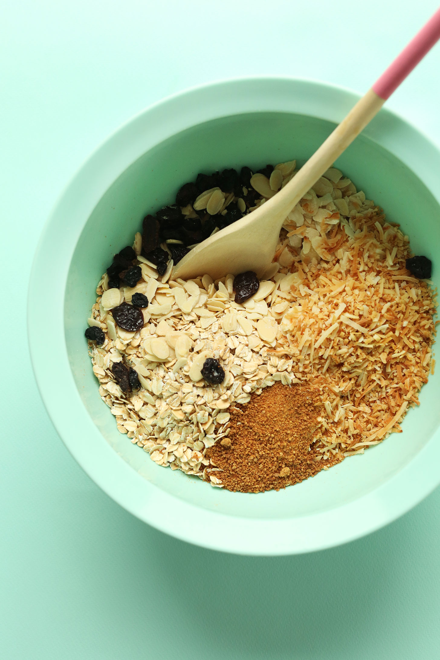 Mixing bowl with ingredients for our naturally-sweetened Toasted Coconut Baked Oatmeal