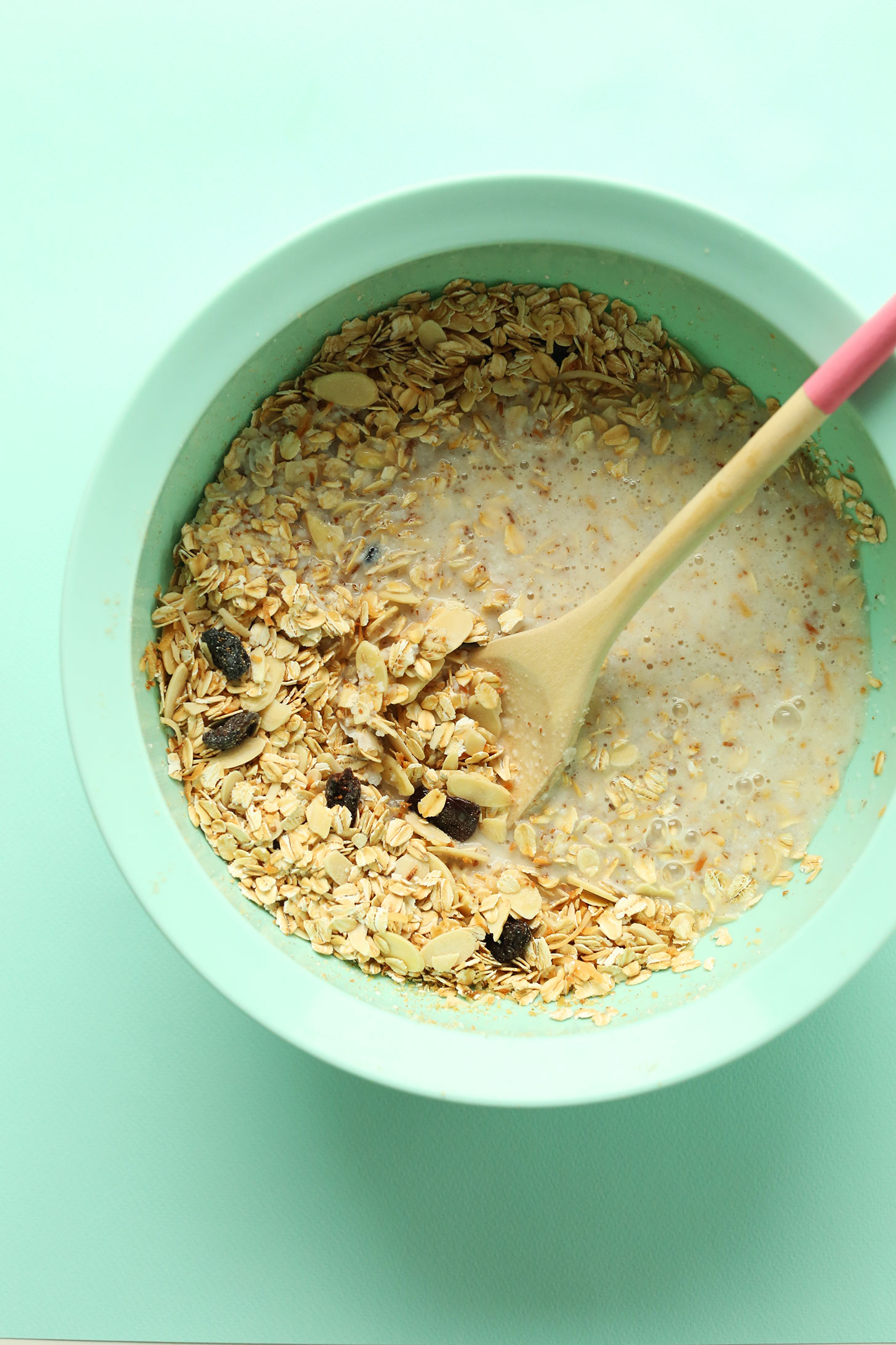 Stirring ingredients together for gluten-free vegan Toasted Coconut Baked Oatmeal