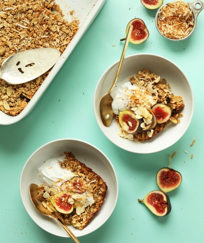 Bowls and serving dish filled with vegan gluten-free Coconut Baked Oatmeal