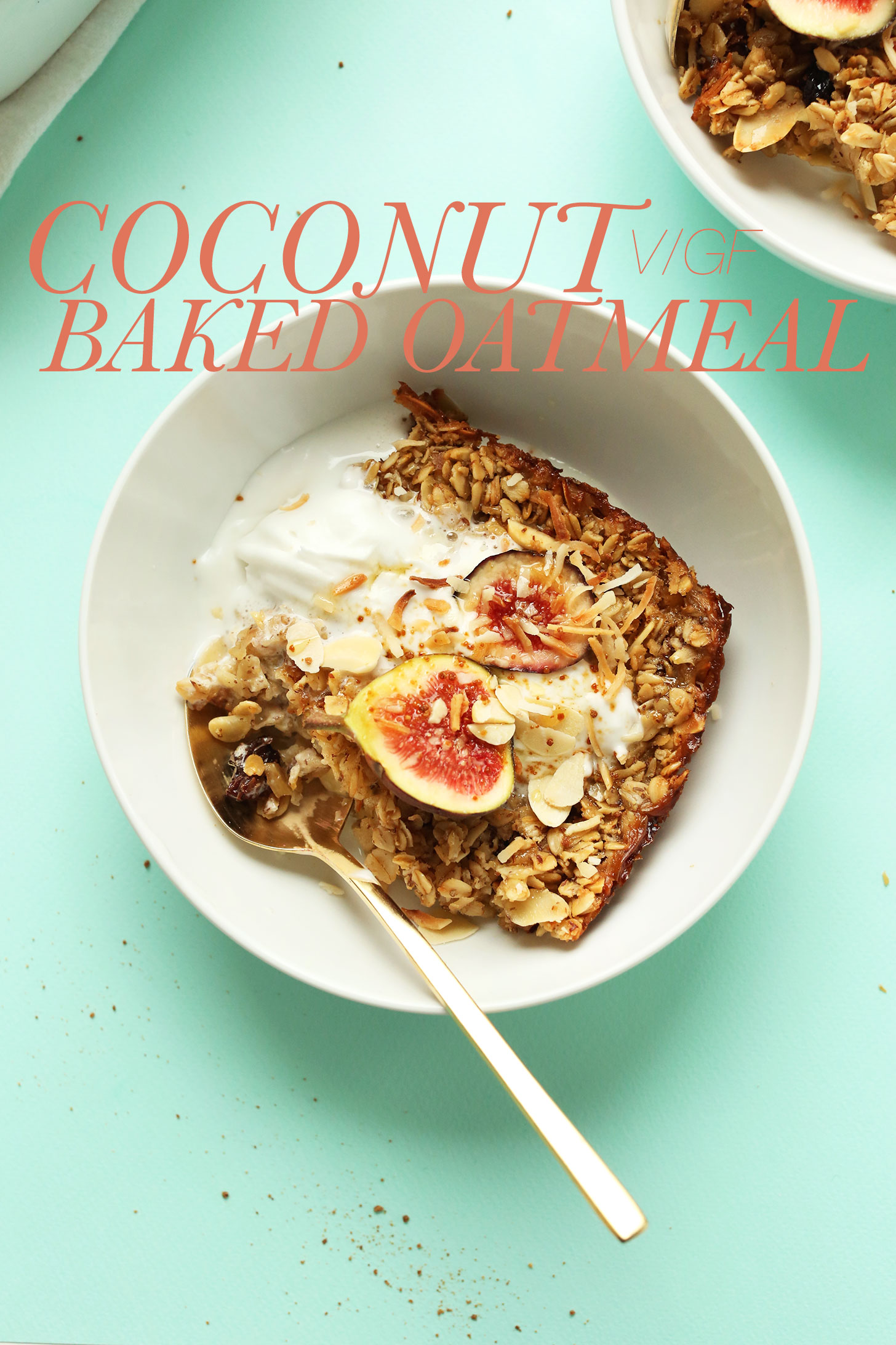 Having a bowl of vegan gluten-free Coconut Baked Oatmeal for a make-ahead simple breakfast