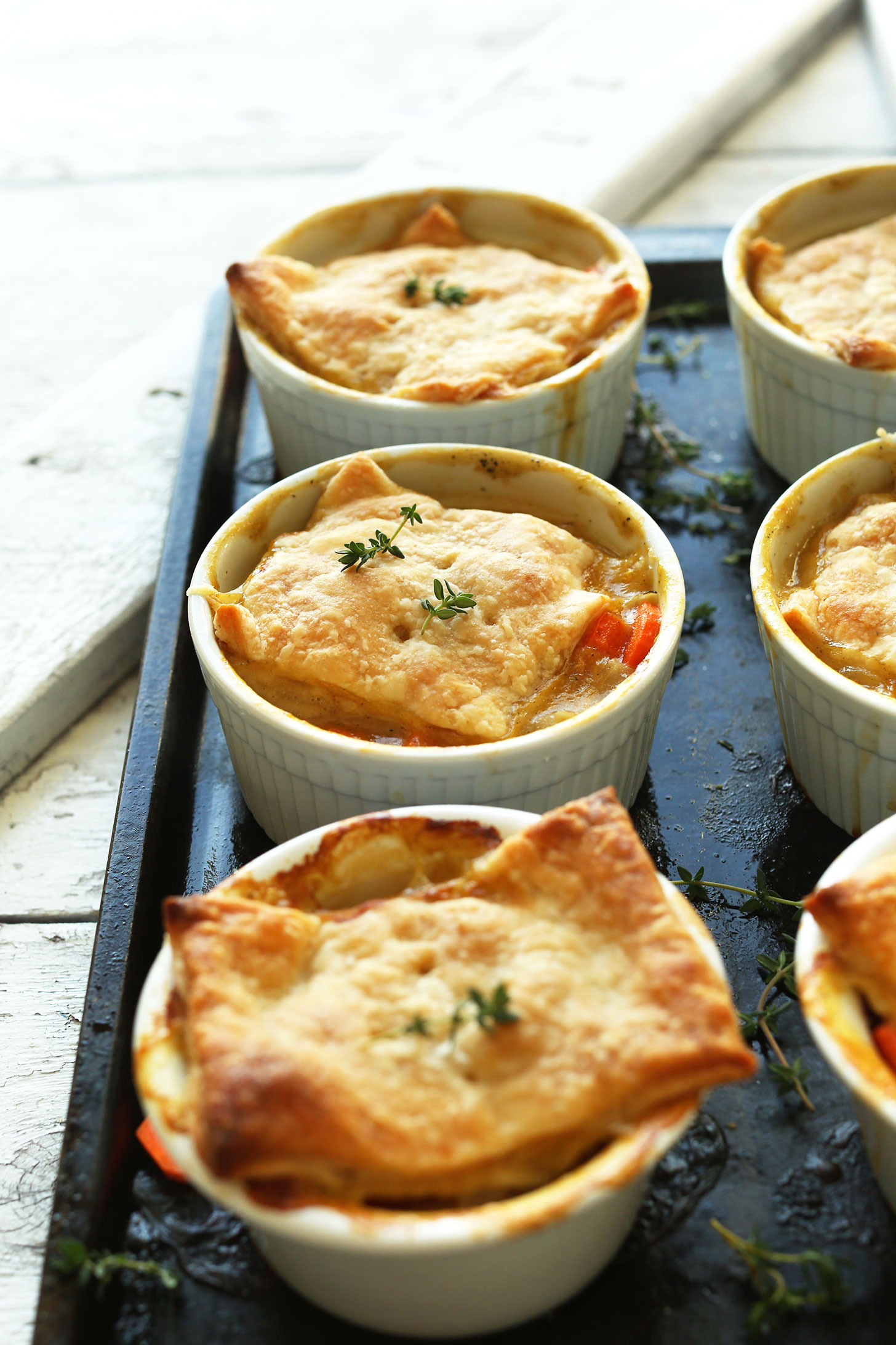 Ramekins of White Bean & Thyme Pot Pies for a comforting vegan dinner