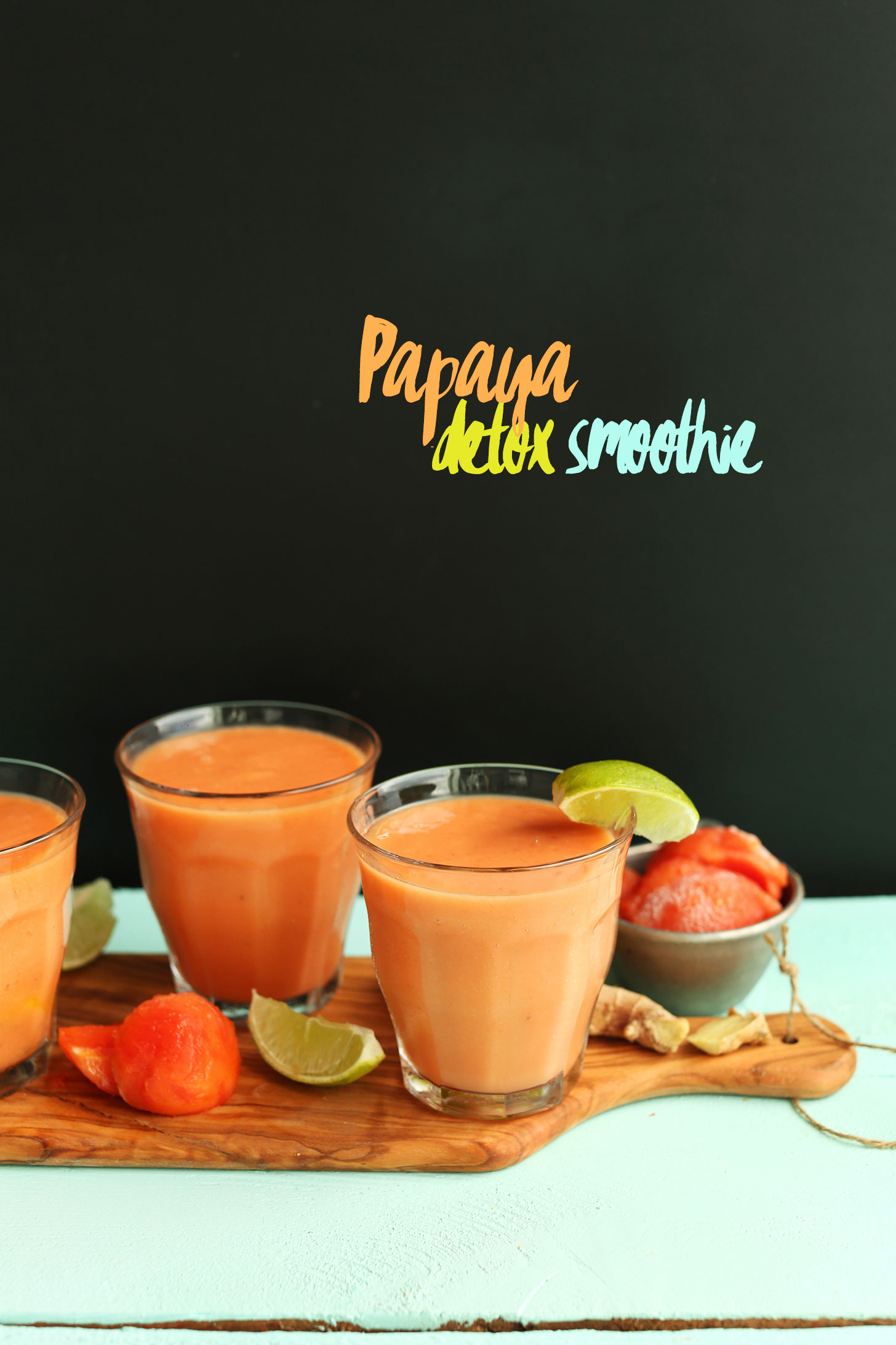 Glasses of our naturally-sweetened vegan Papaya Detox Smoothie