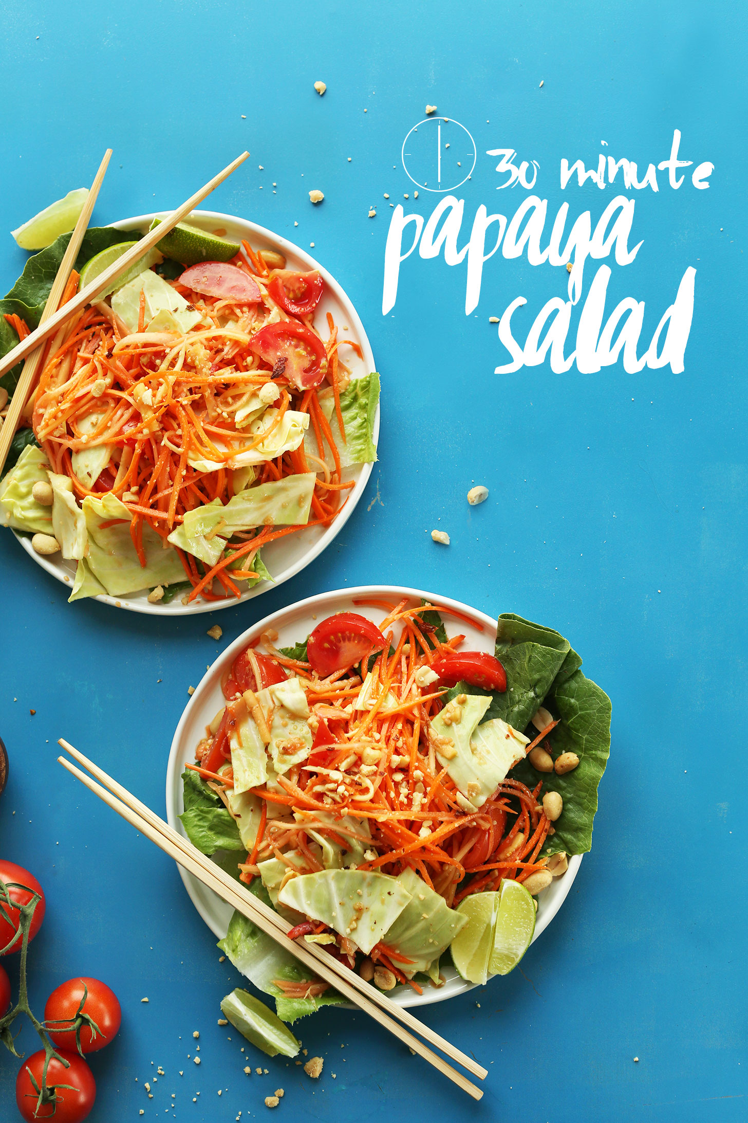 Two plates of our 30-Minute Papaya Salad for a delicious vegan Thai recipe