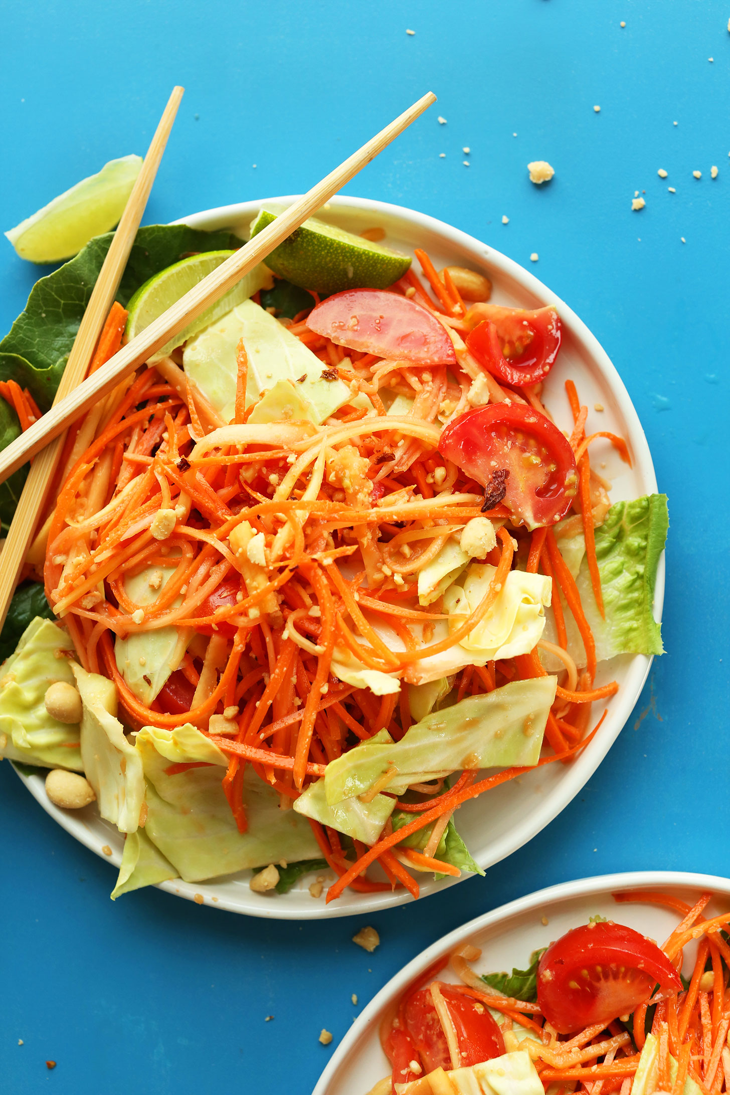 Plate of our gluten-free vegan Thai Papaya Salad with sweet and spicy sauce