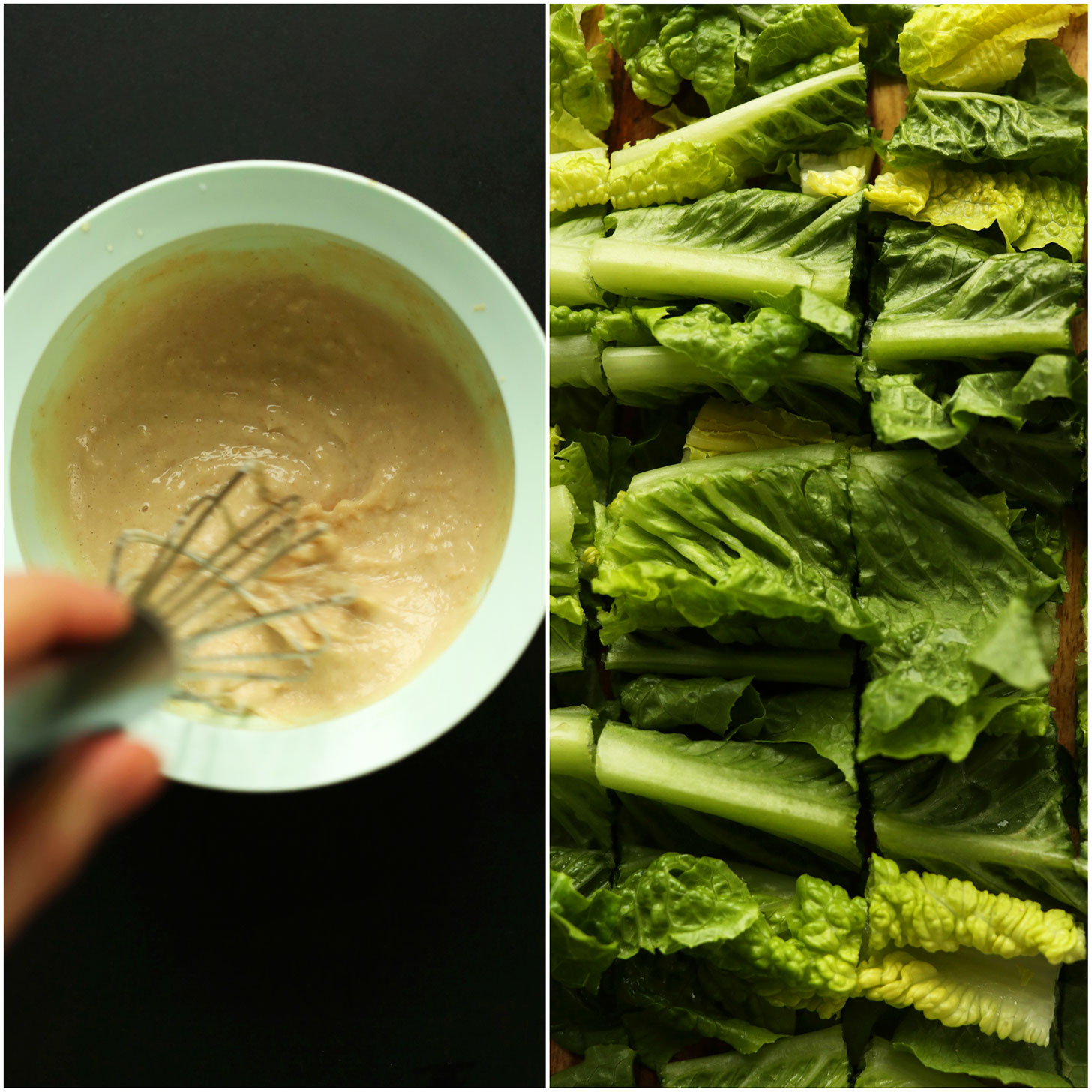 Photos of freshly chopped romaine and a hummus dressing for making vegan wraps