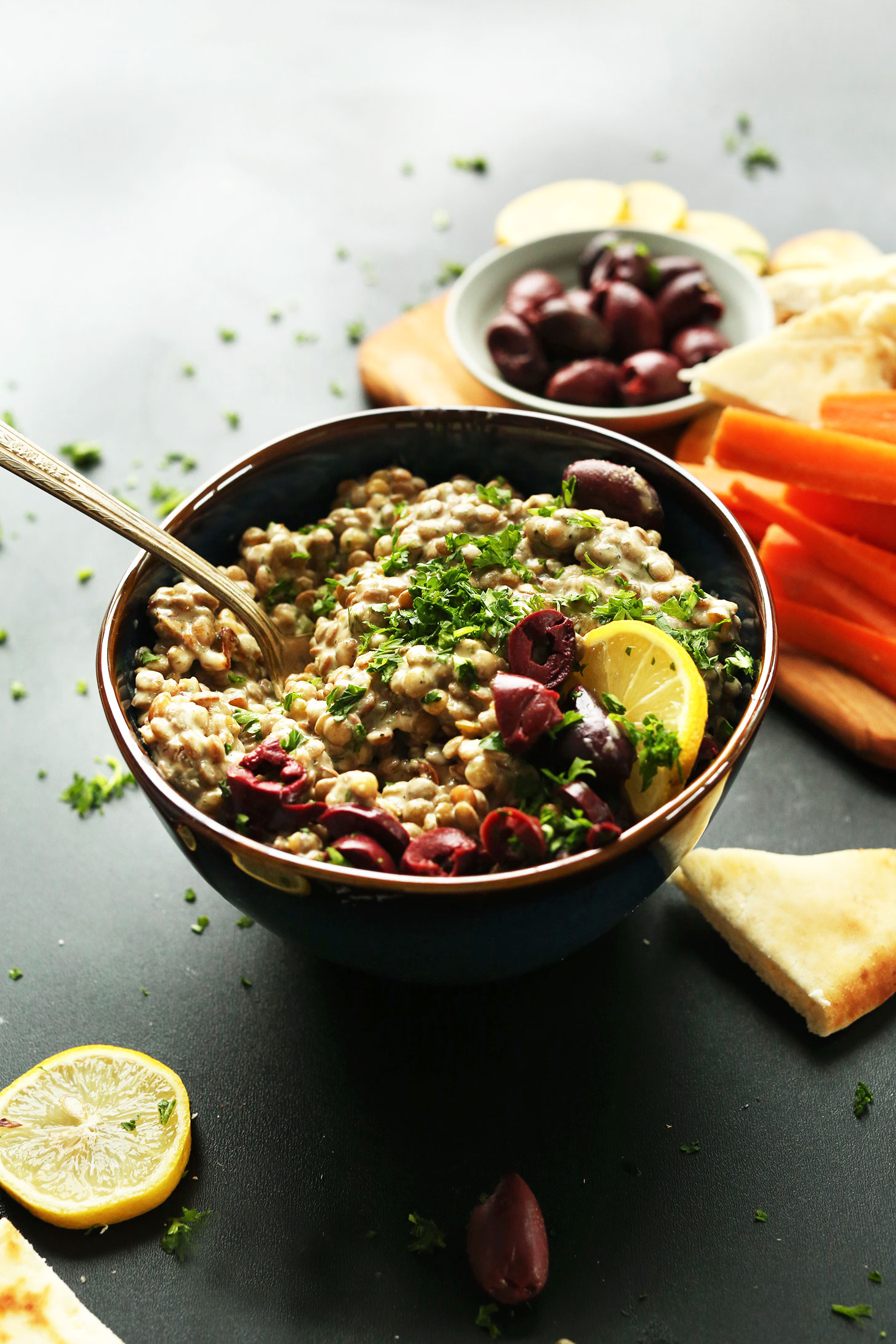 Bowl of our flavorful Lentil Dip recipe that makes an excellent plant-based snack
