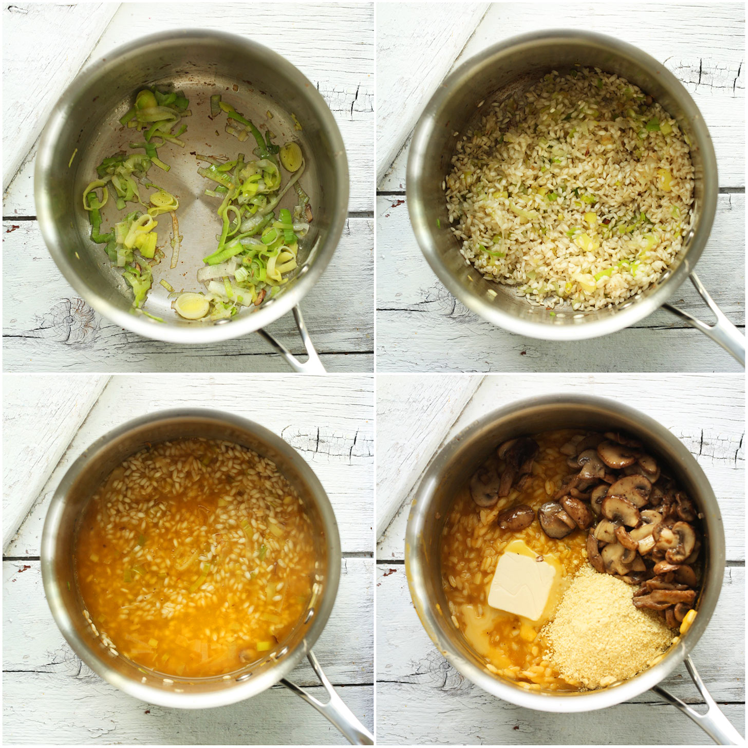 Photos showing steps for making gluten-free vegan Risotto with Mushrooms and Leeks