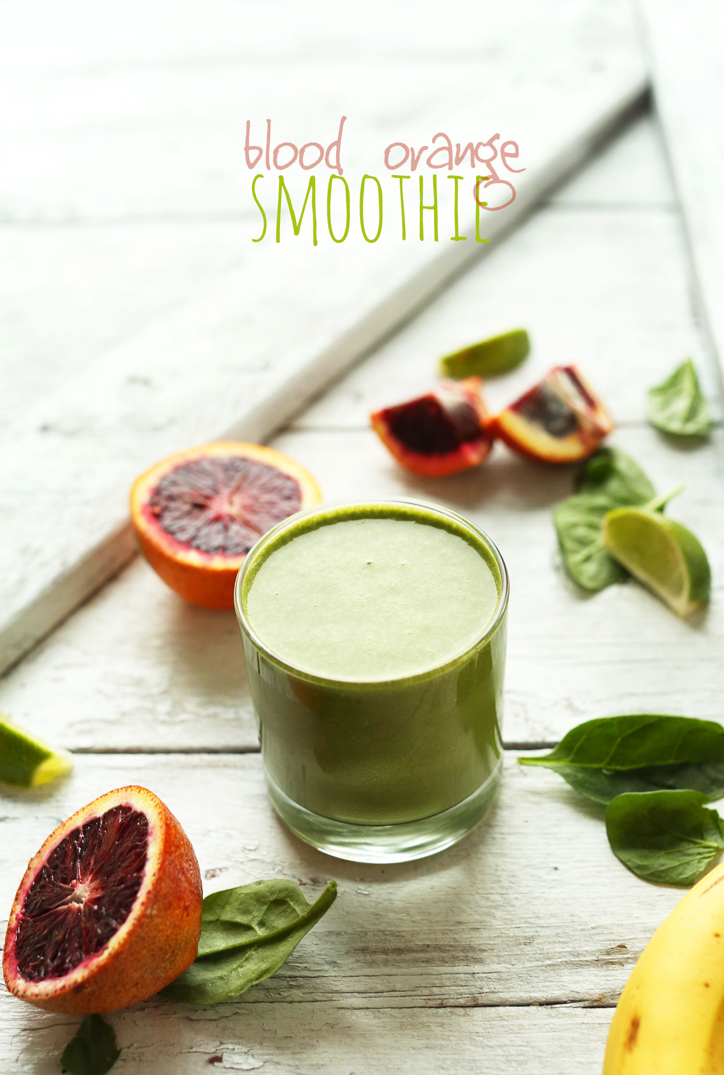 Small glass of our creamy vegan Blood Orange Green Smoothie