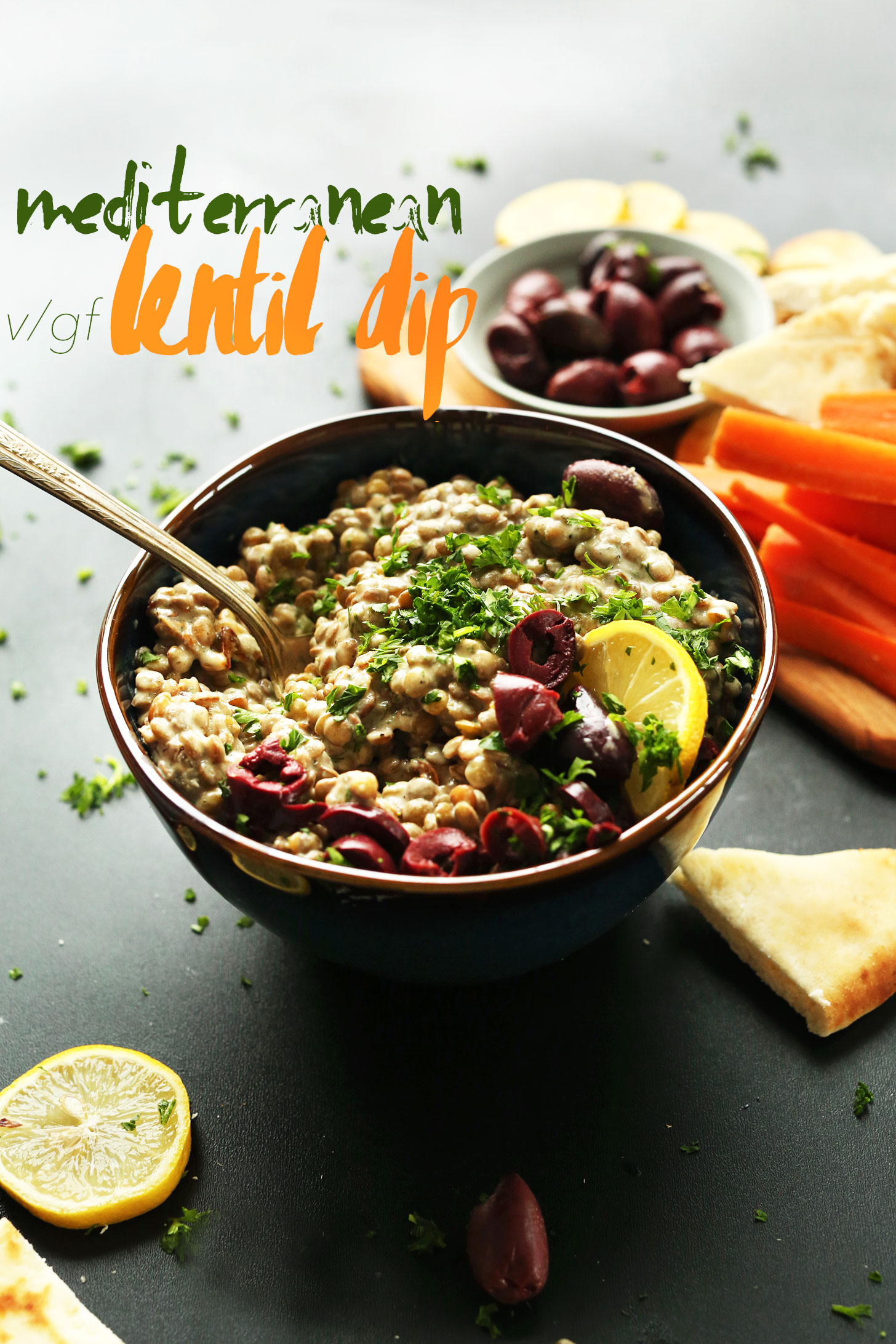 Big bowl of our Mediterranean Lentil Dip for the perfect vegan appetizer