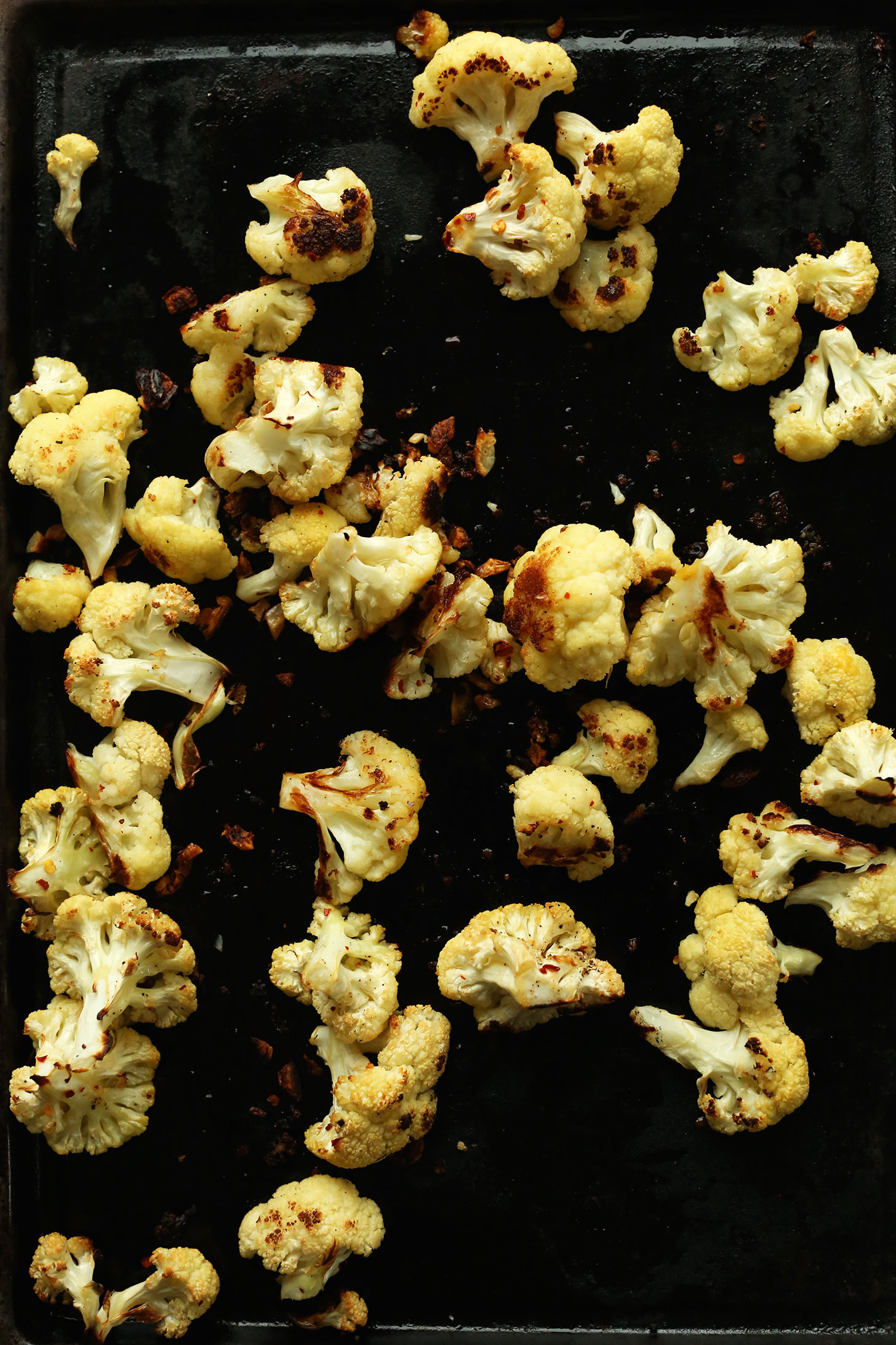 Baking sheet with perfectly crispy Roasted Cauliflower