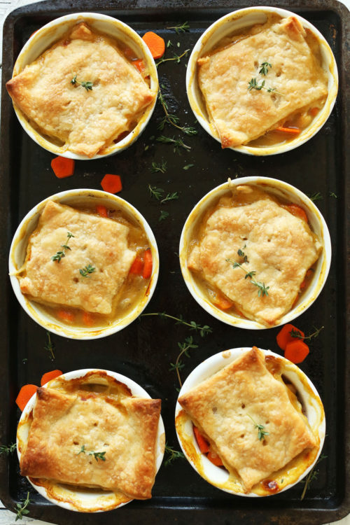 Ramekins filled with delicious flaky White Bean & Thyme Vegan Pot Pies
