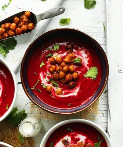 Curried Beet Soup with Tandoori Chickpeas