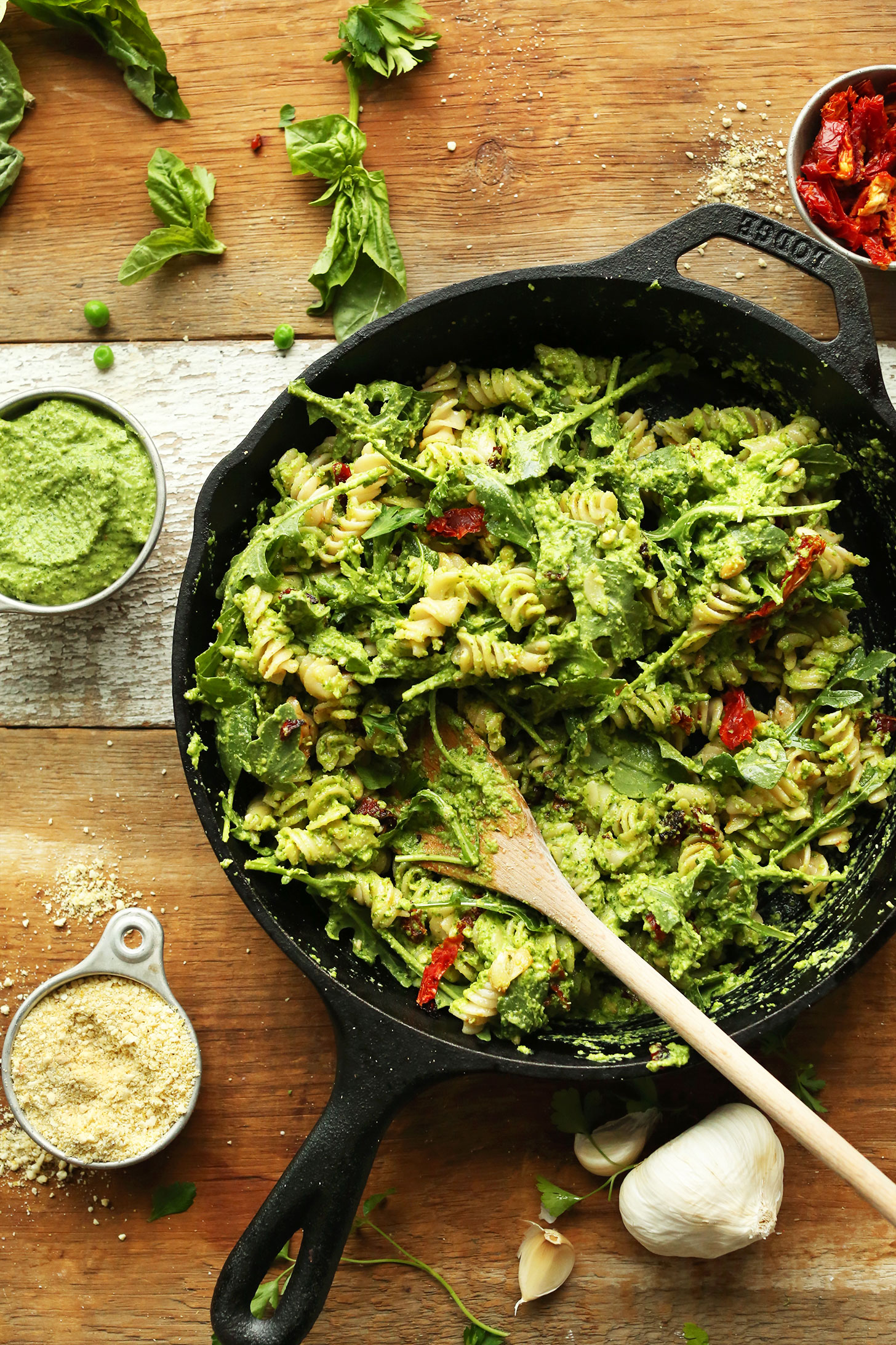 Cast-iron skillet filled with our gluten-free vegan Pea Pesto Pasta