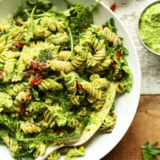 Big bowl of Pea Pesto Pasta for a gluten-free vegan comfort food meal