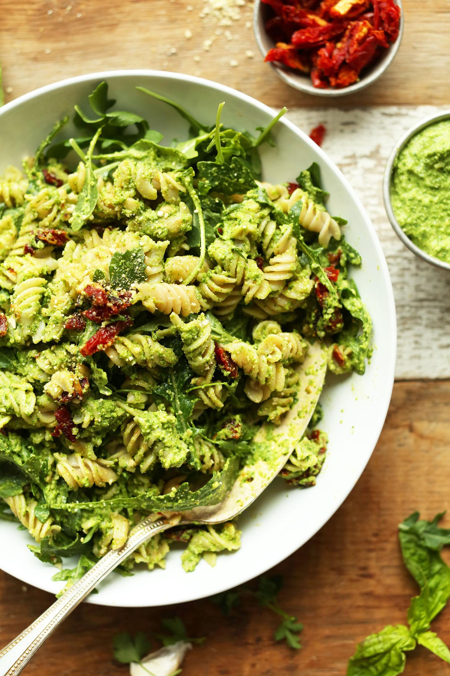Big bowl of Pea Pesto Pasta for a gluten-free vegan comfort food meal