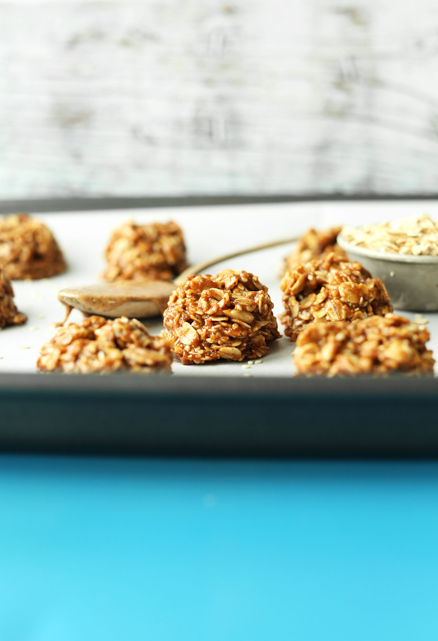 Naturally-sweetened Almond Butter No-Bake Cookies on a baking sheet