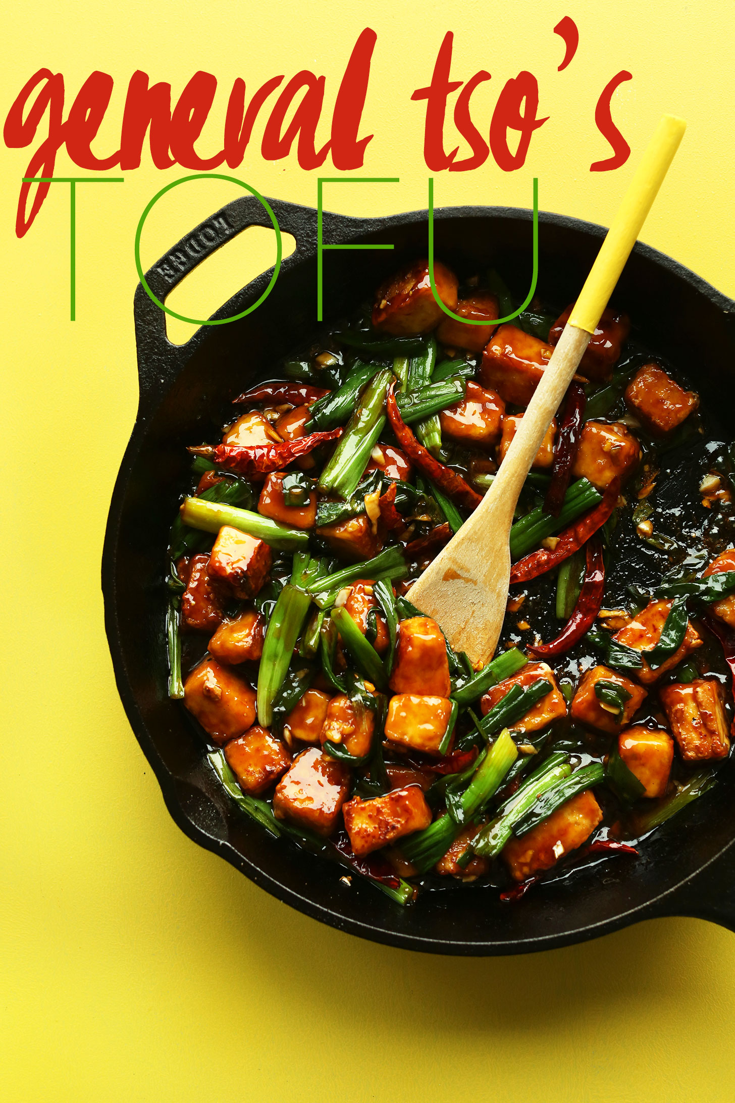 Cast-iron skillet filled with our 30-minute gluten-free vegan General Tso's Tofu recipe