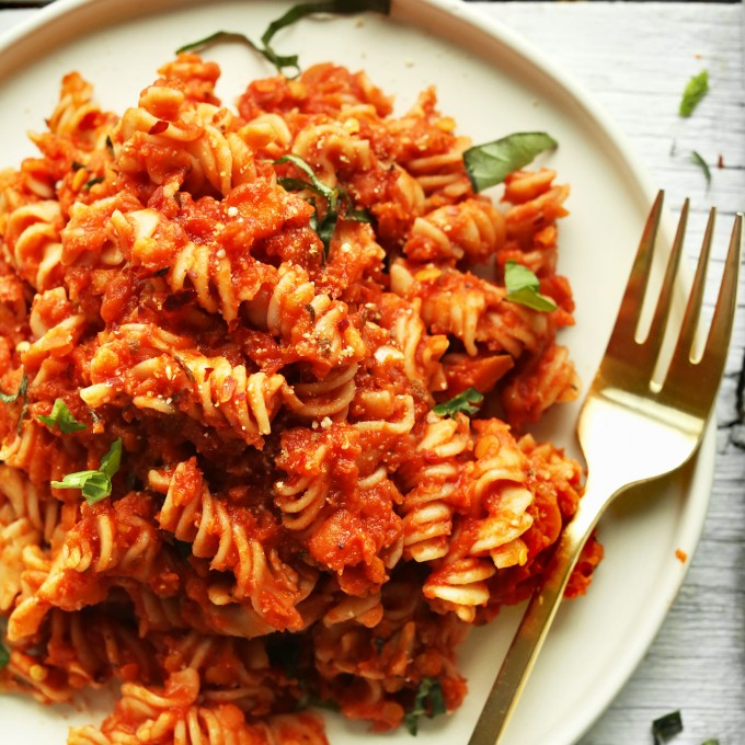 Dinner plate filled with our healthy gluten-free vegan Spicy Red Lentil Pasta recipe