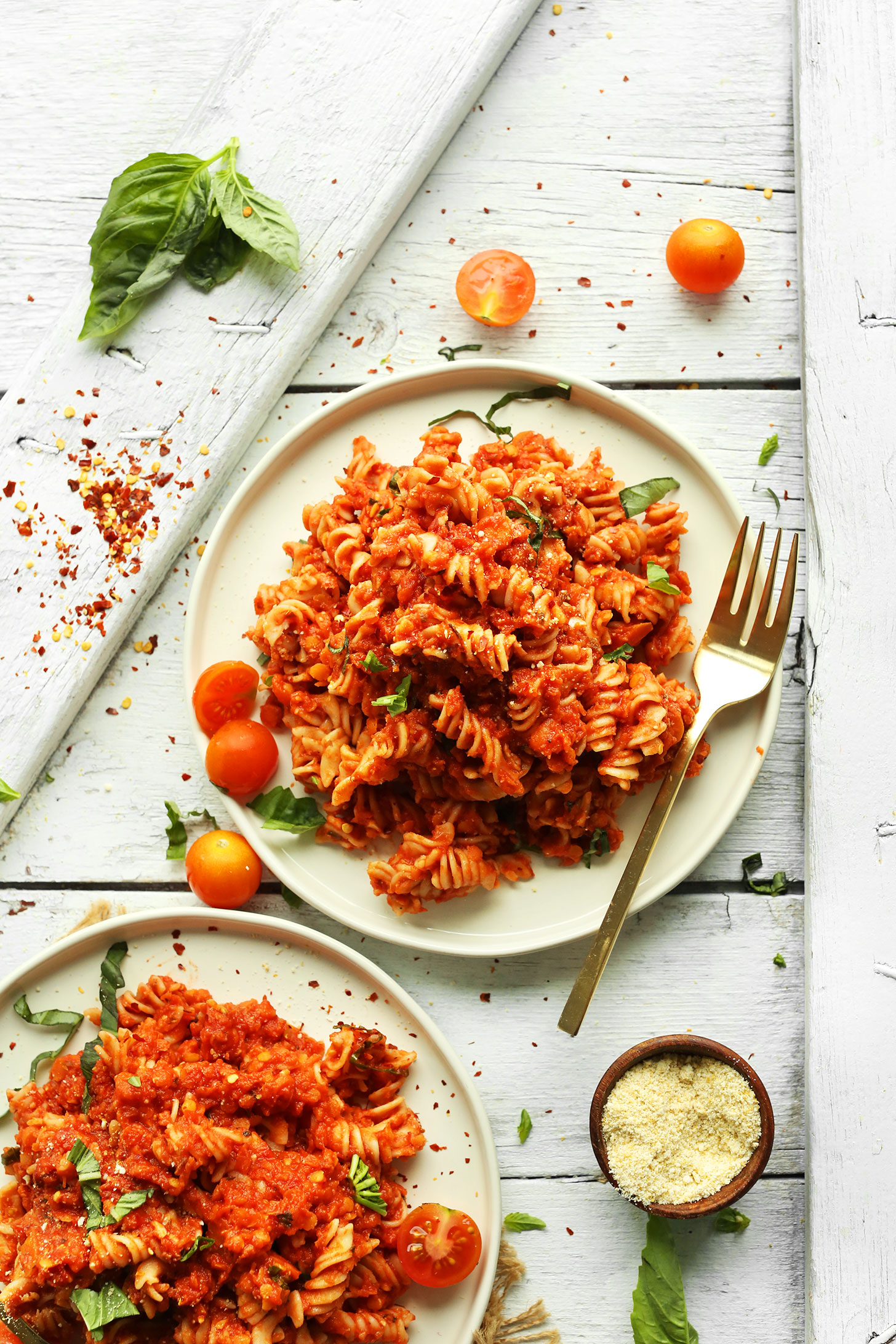 spicy red pasta with lentils minimalist baker recipes