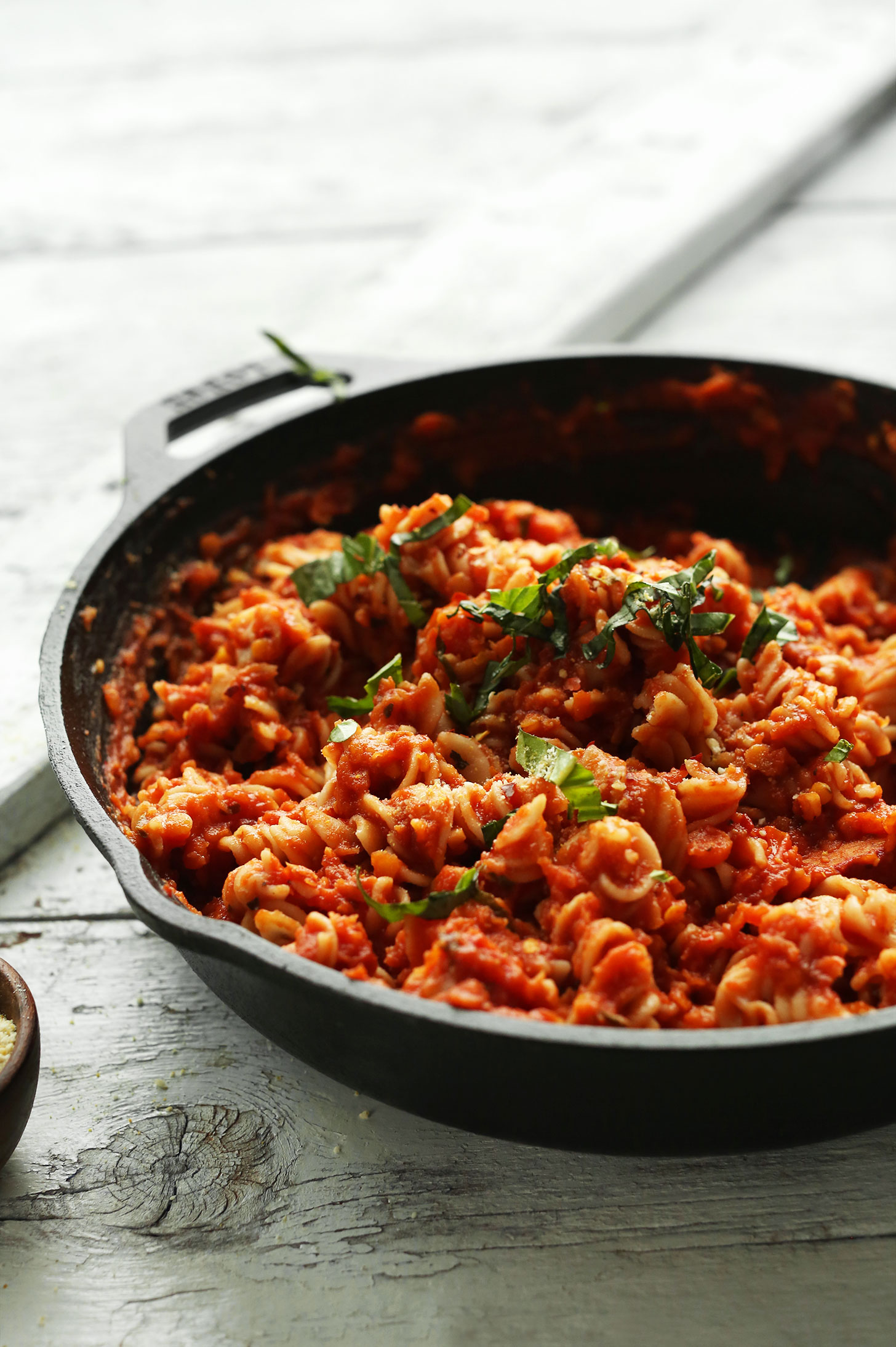 Cast-iron skillet filled with our recipe for Spicy Red Pasta with Lentils
