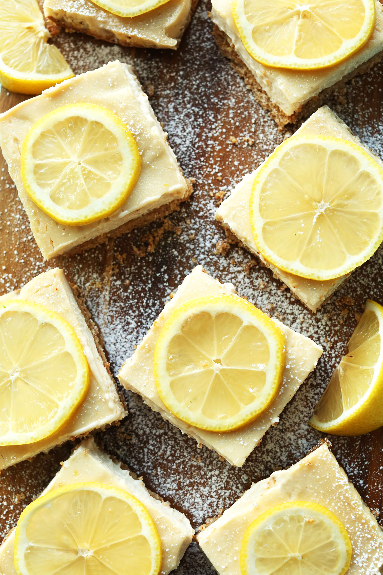 Squares of our incredible gluten-free vegan lemon bars recipe