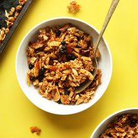 Bowls of Chunky Coconut Granola made with dried blueberries