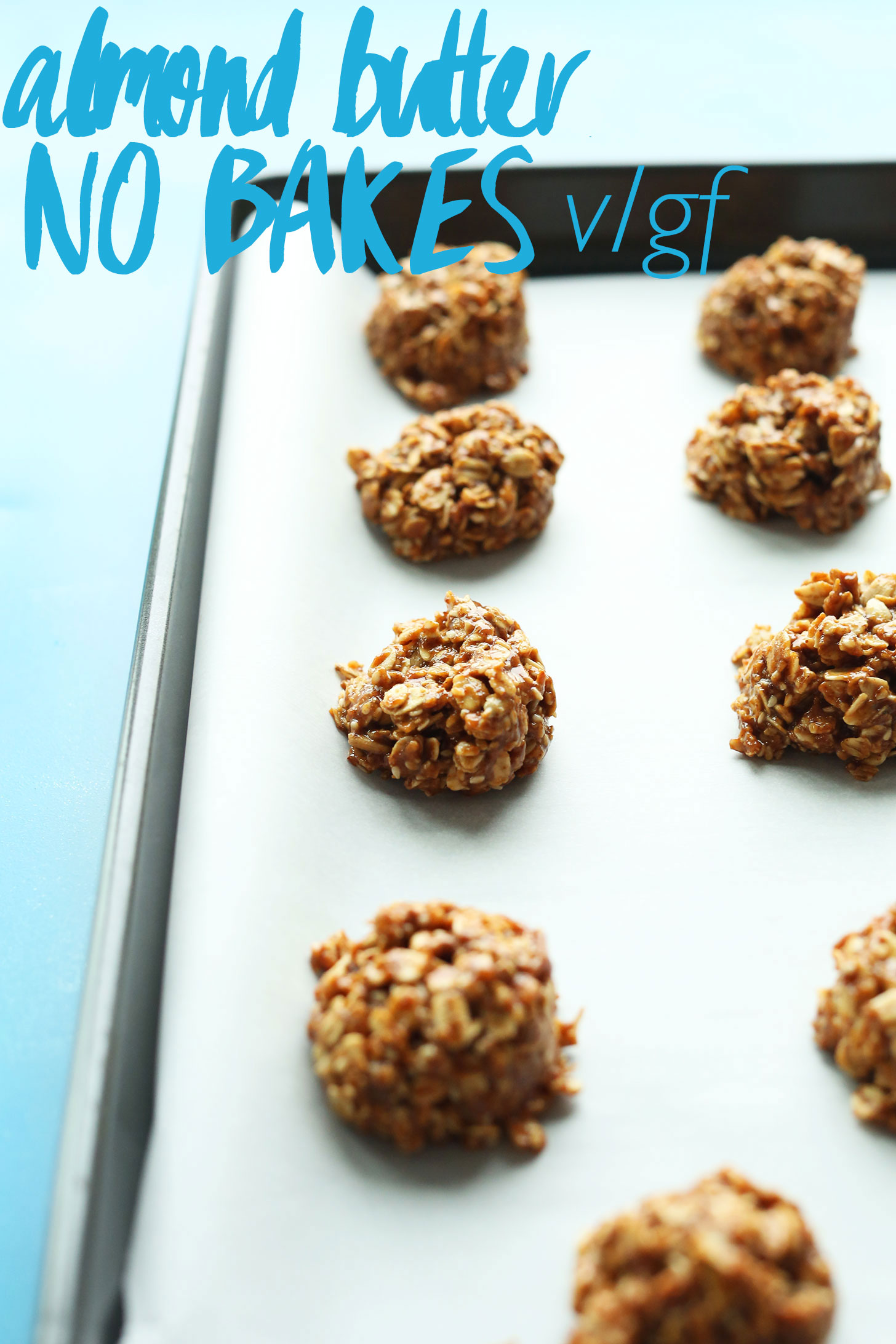 Parchment-lined baking sheet with our gluten-free vegan Almond Butter No-Bake Cookies