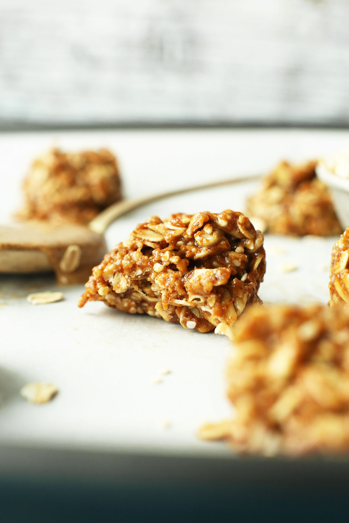 Partially eaten gluten-free vegan Almond Butter No Bake Cookie