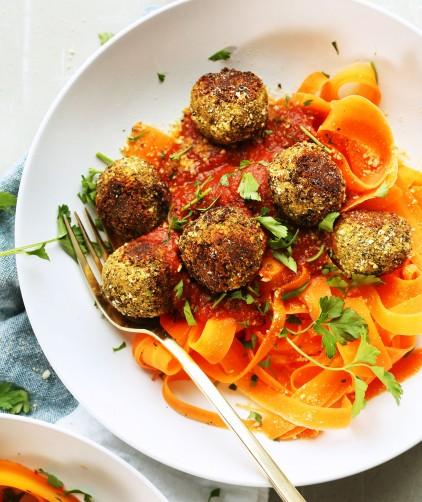 Lentil meatballs over carrot ribbons for an easy vegan dinner