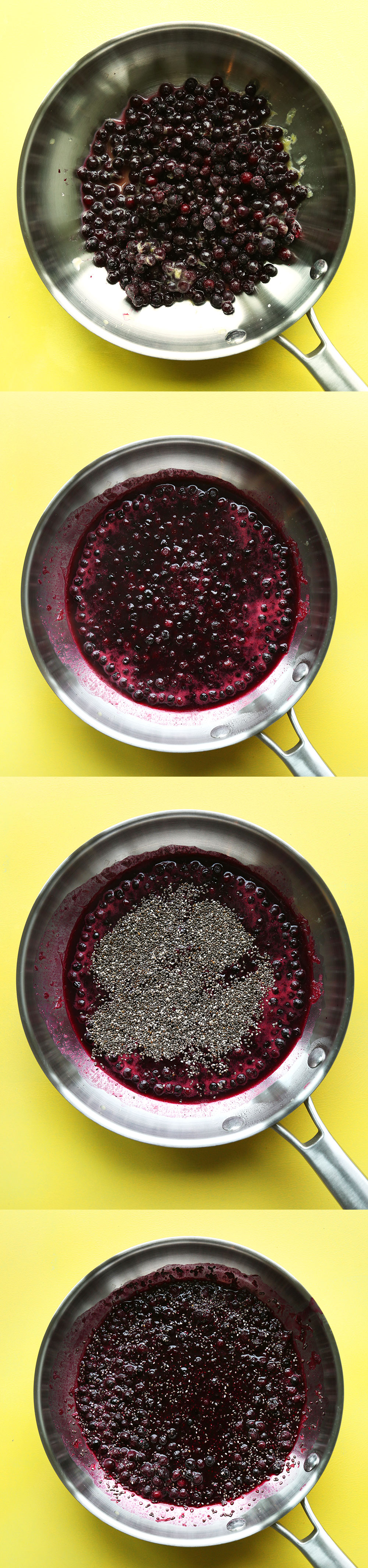 Cooking blueberries in a pan for healthy blueberry chia seed compote