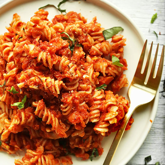 Big plate of Spicy Red Pasta made with lentils