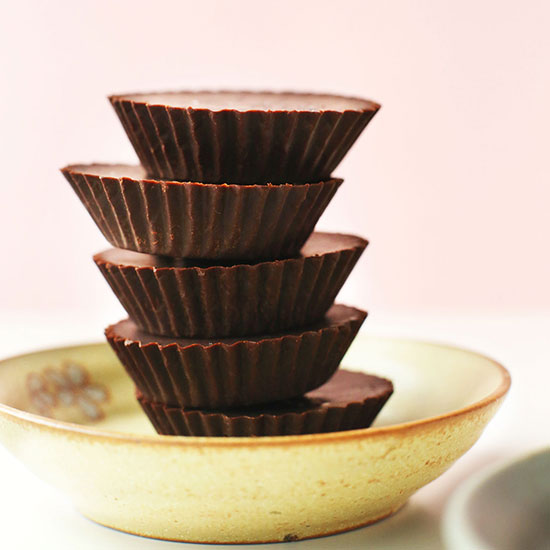Easy Homemade Vegan Chocolates stacked tall in a bowl