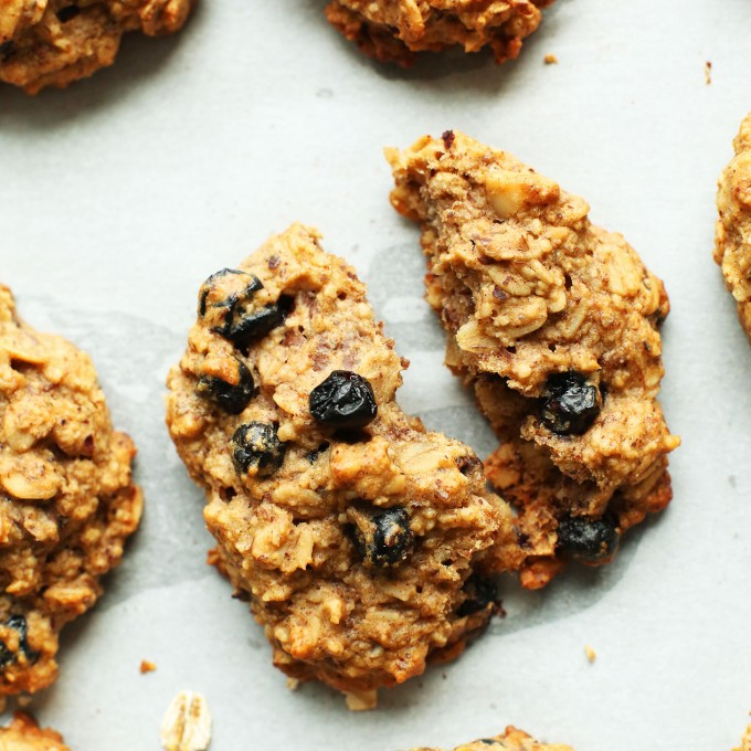 Close up shot of a cookie made using our 1-Bowl Blueberry Muffin Breakfast Cookies recipe