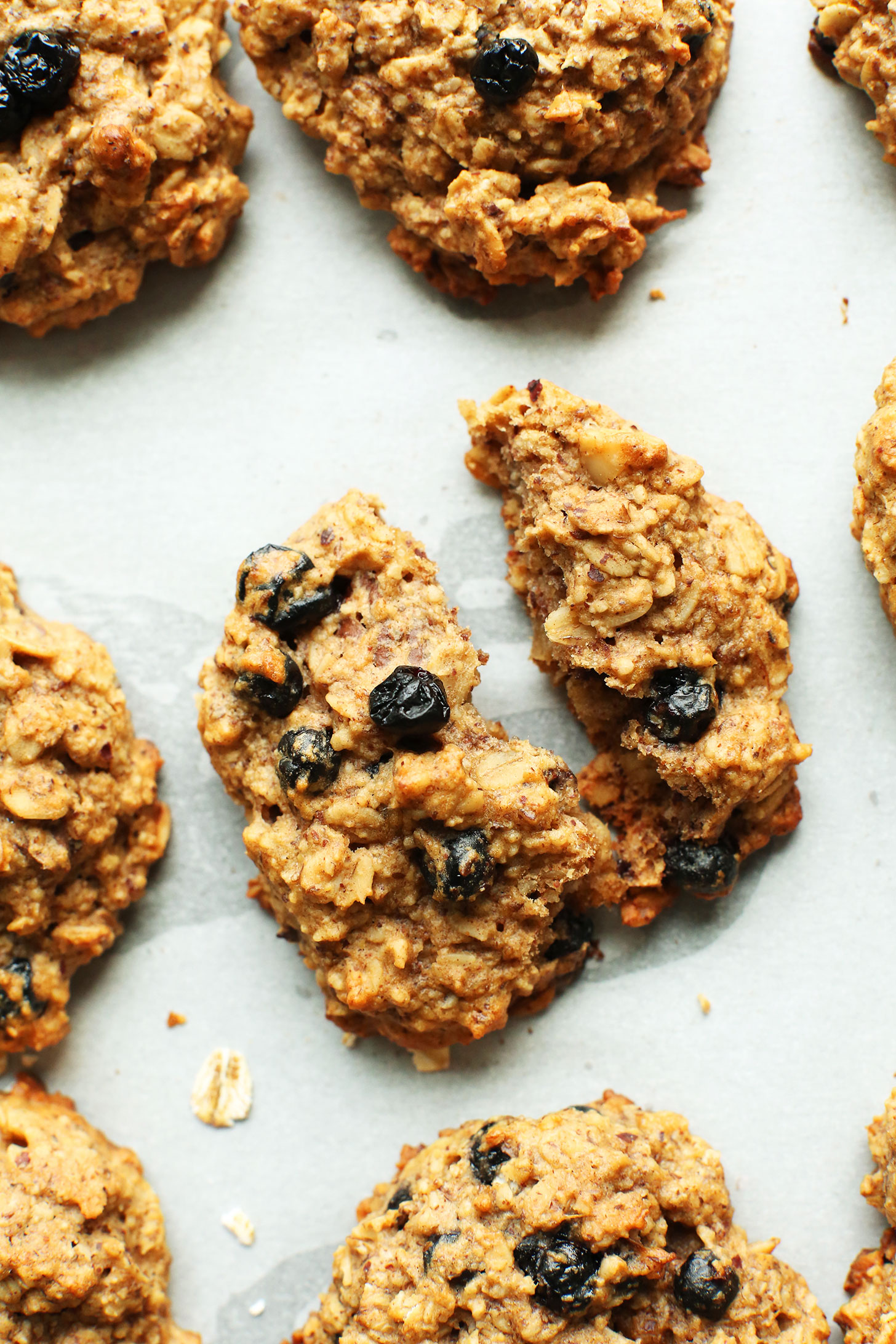 Healthy gluten-free vegan Blueberry Muffin Breakfast Cookies on a baking sheet