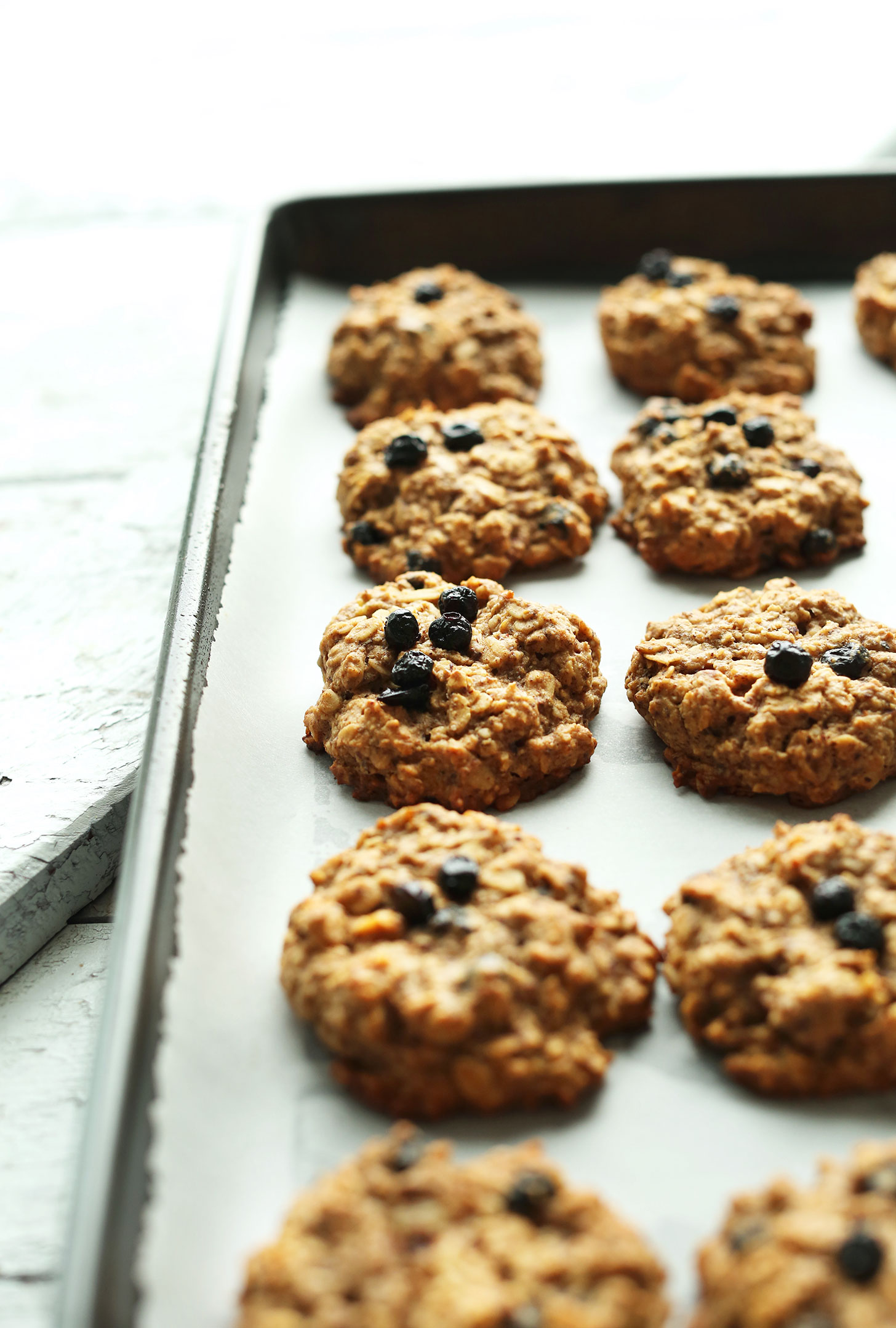 Baking sheet with freshly baked and naturally-sweetened Blueberry Muffin Breakfast Cookies