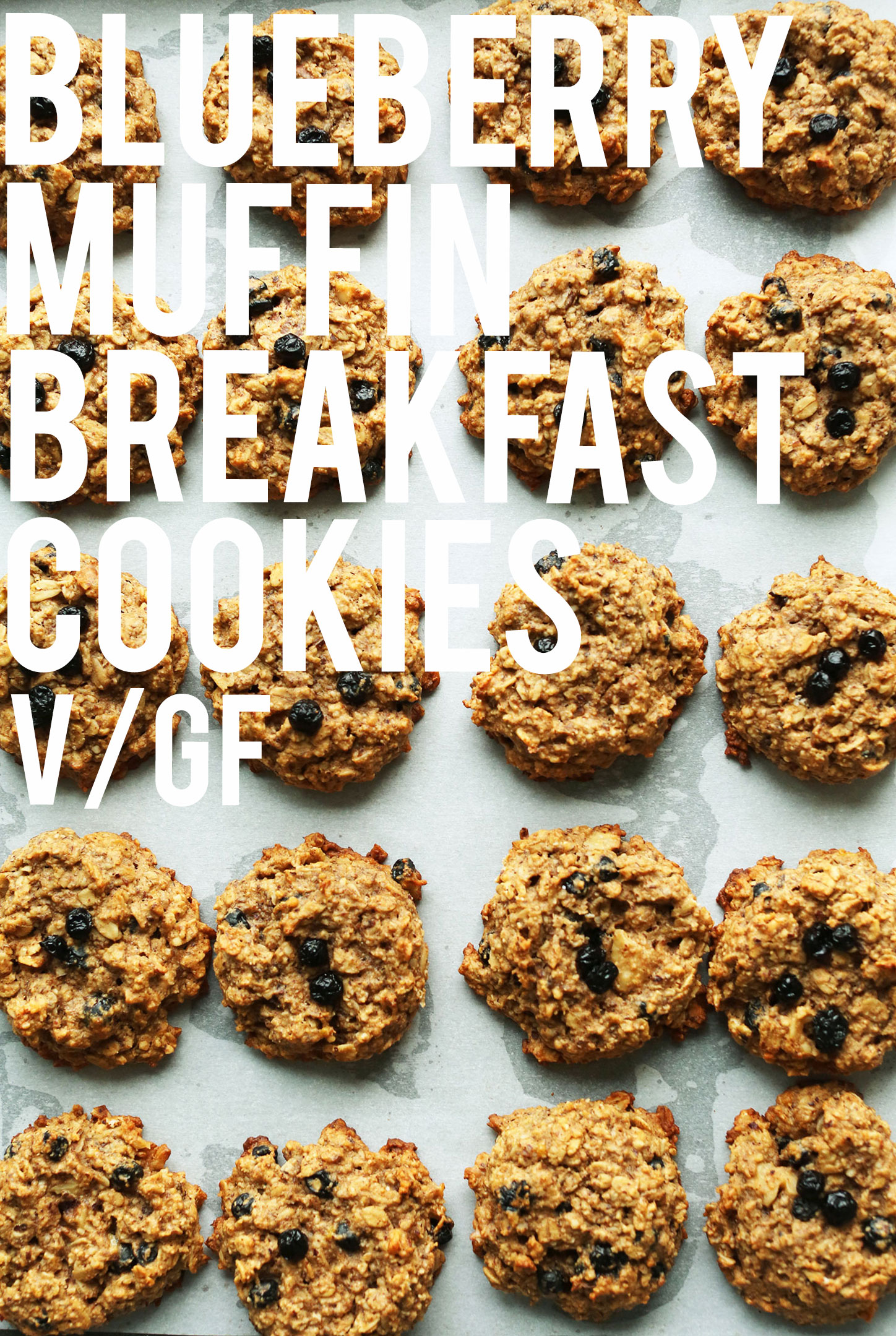 Baking sheet full of our gluten-free vegan Blueberry Muffin Breakfast Cookies recipe