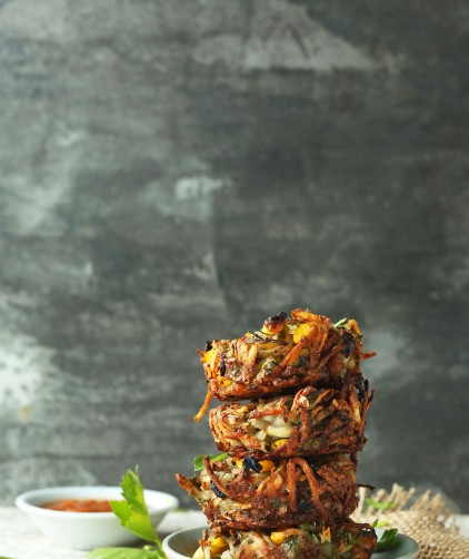 Crispy homemade baked hashbrowns for a plant-based brunch idea