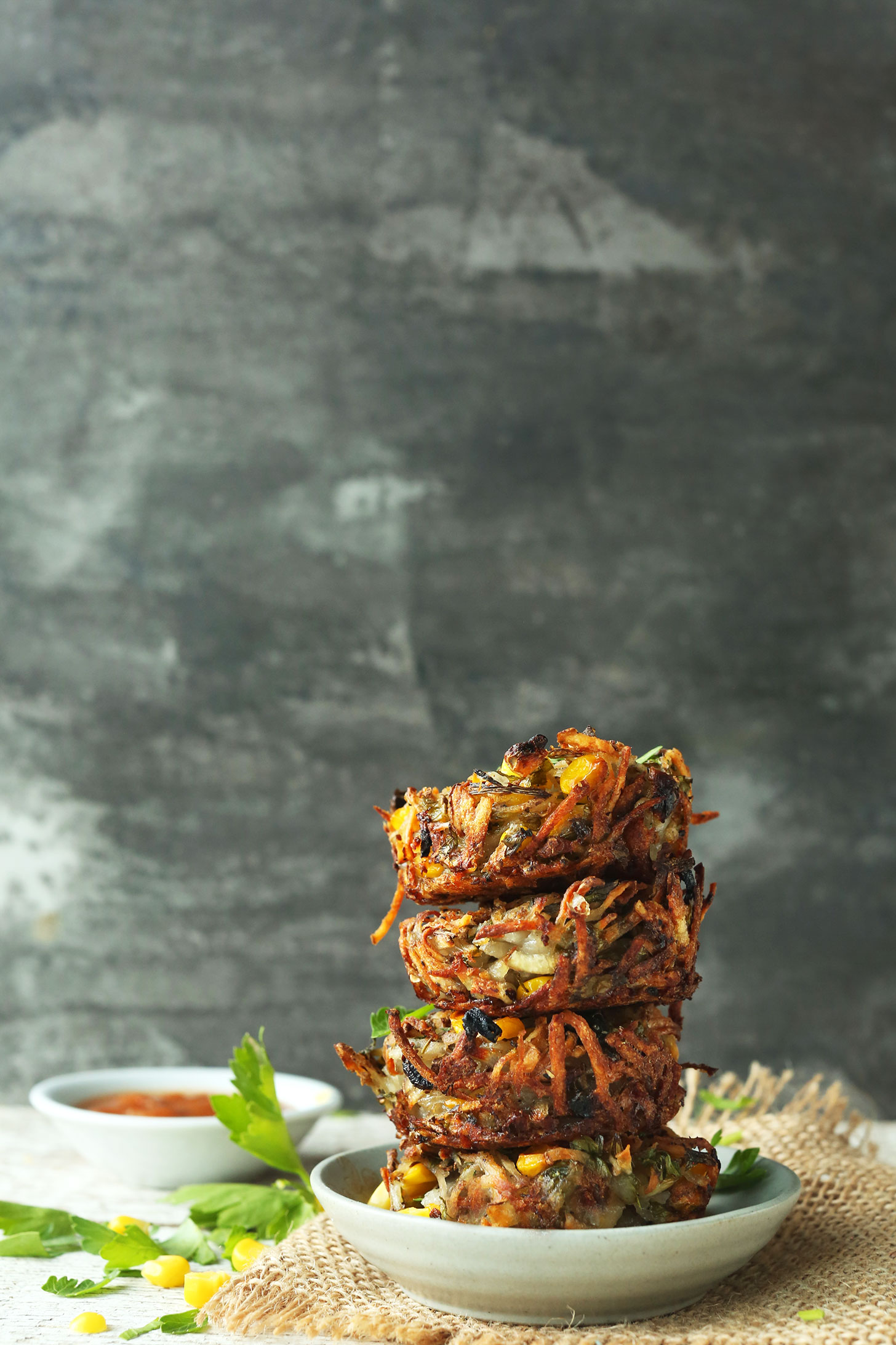 Stack of our Crispy Hash Brown Haystacks for a healthy vegan brunch recipe