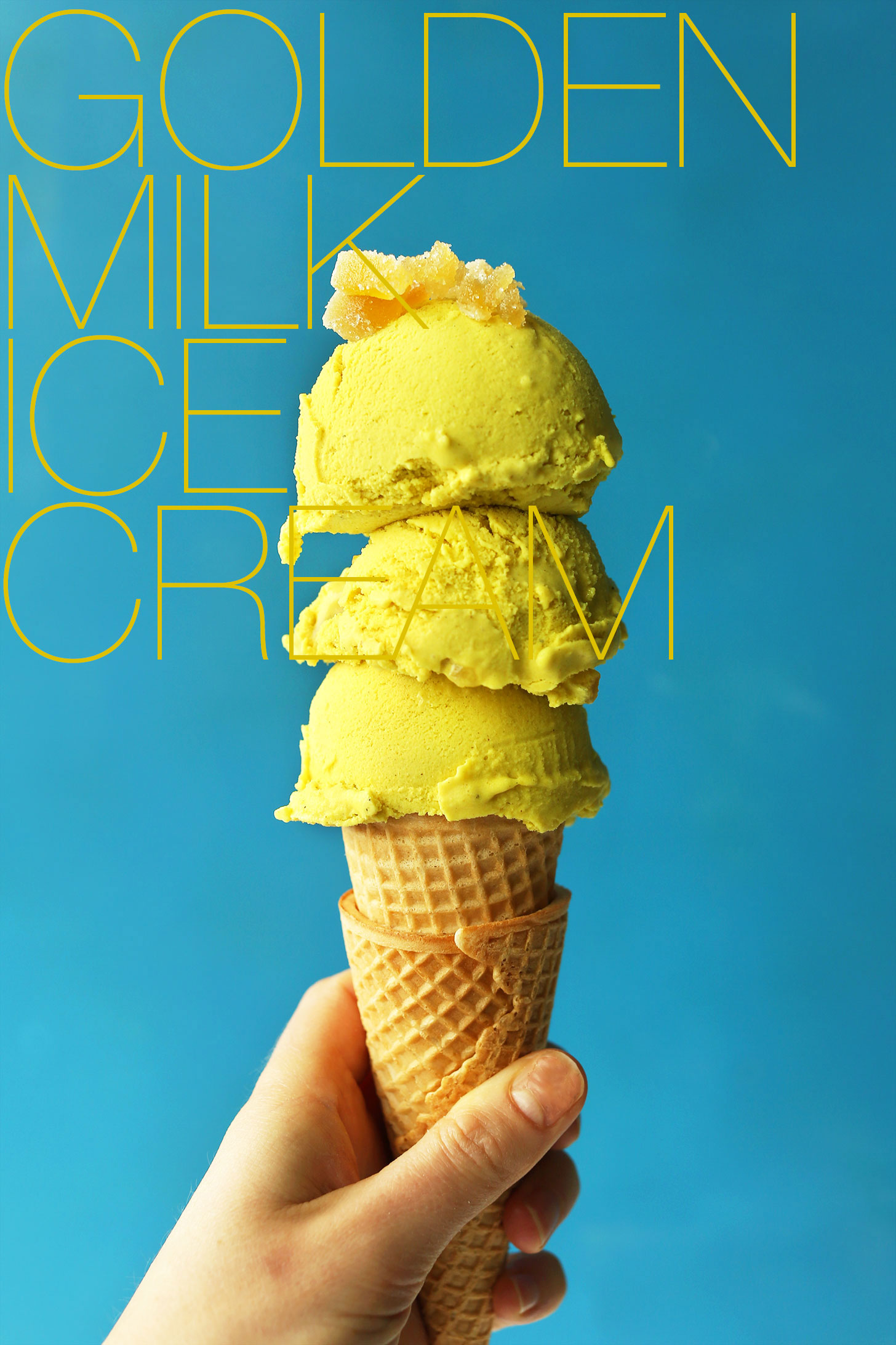 Golden milk ice cream minimalist baker recipes sugar cone topped with scoops of our homemade vegan golden milk ice cream ccuart Image collections