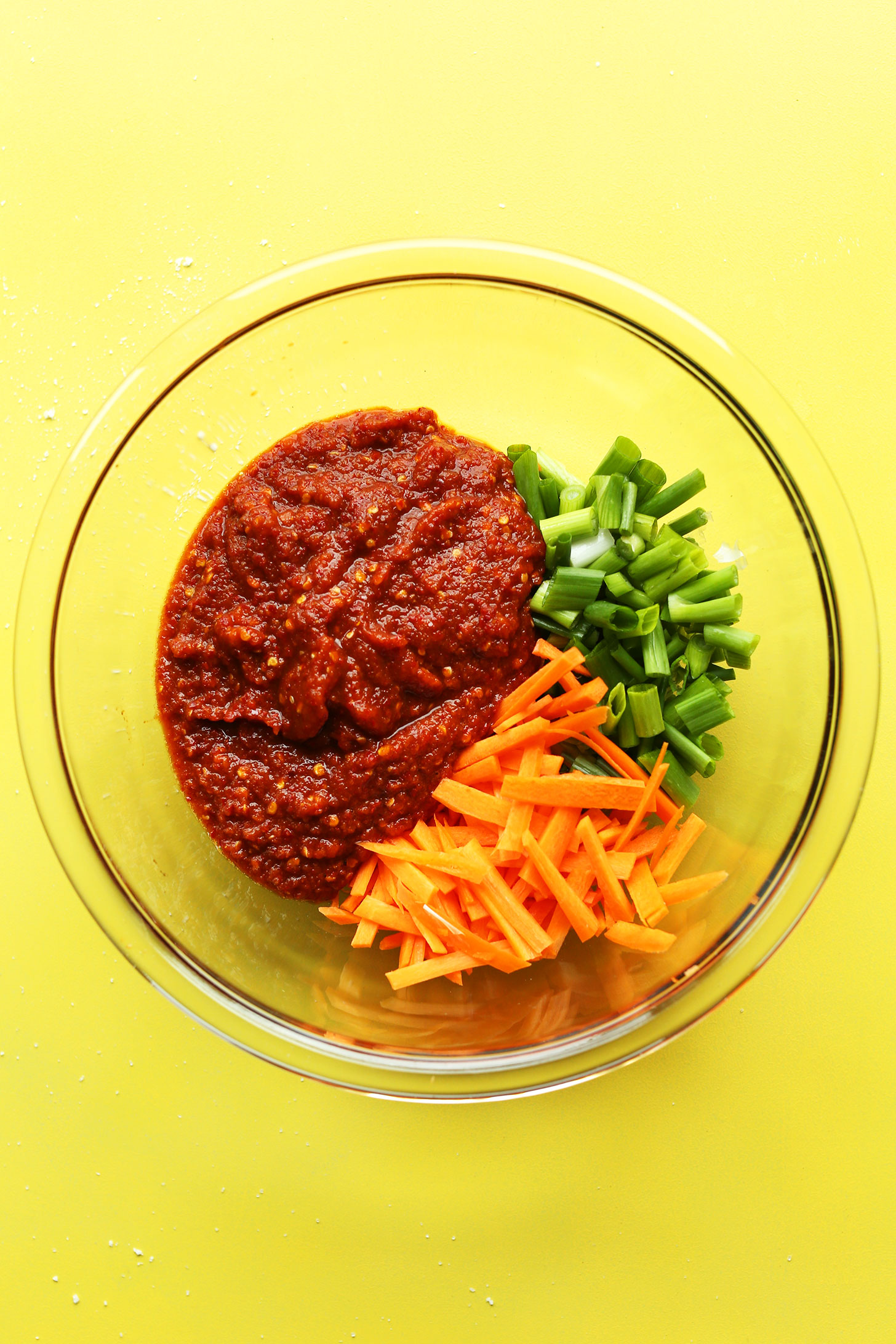 Bowl of ingredients for making our easy homemade vegan kimchi recipe