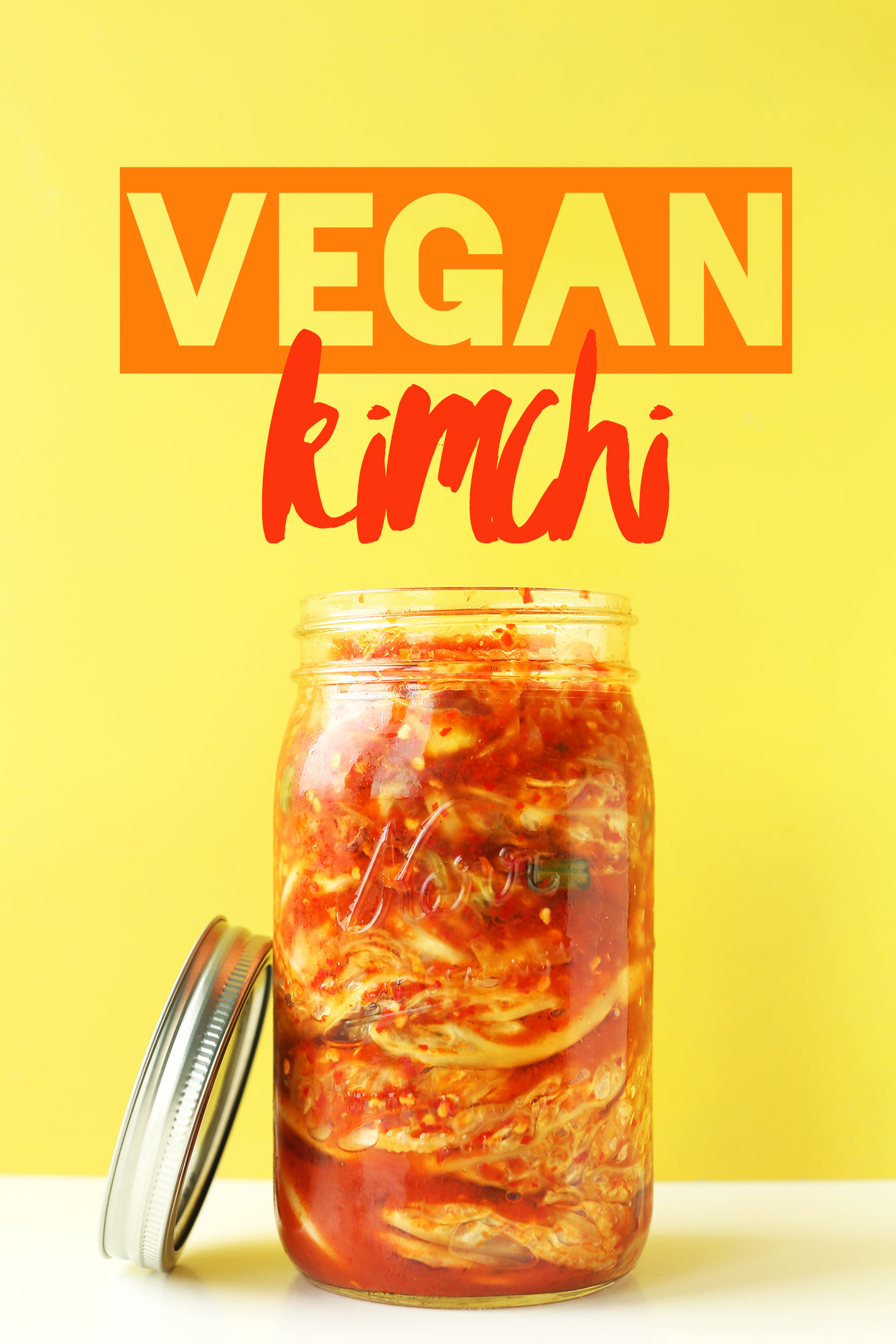 Jar filled with our homemade vegan kimchi recipe