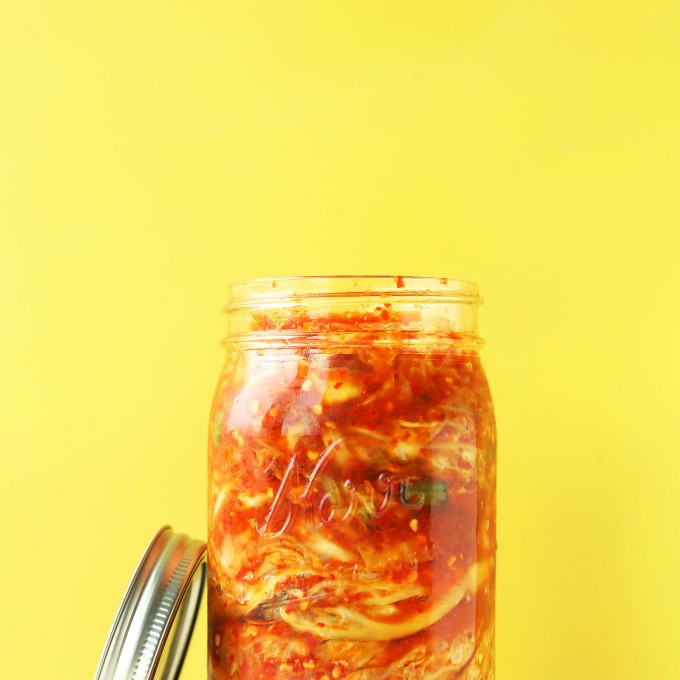 Jar with our gluten-free vegan kimchi recipe