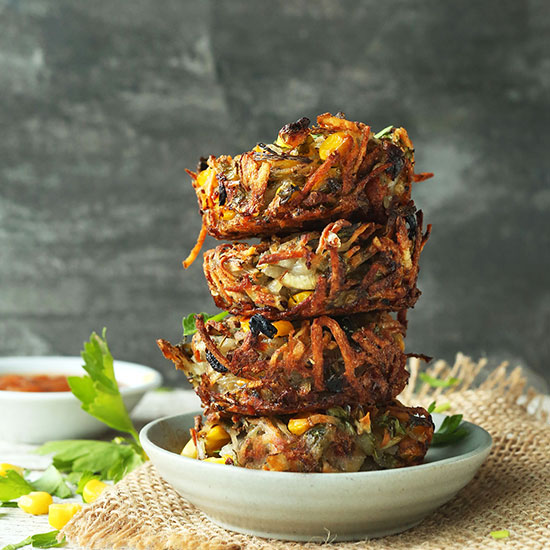 Bowl filled with a stack of Crispy Hash Brown Haystacks