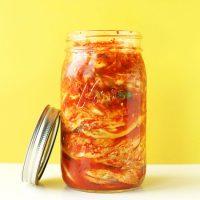 Quart jar filled with homemade Vegan Kimchi