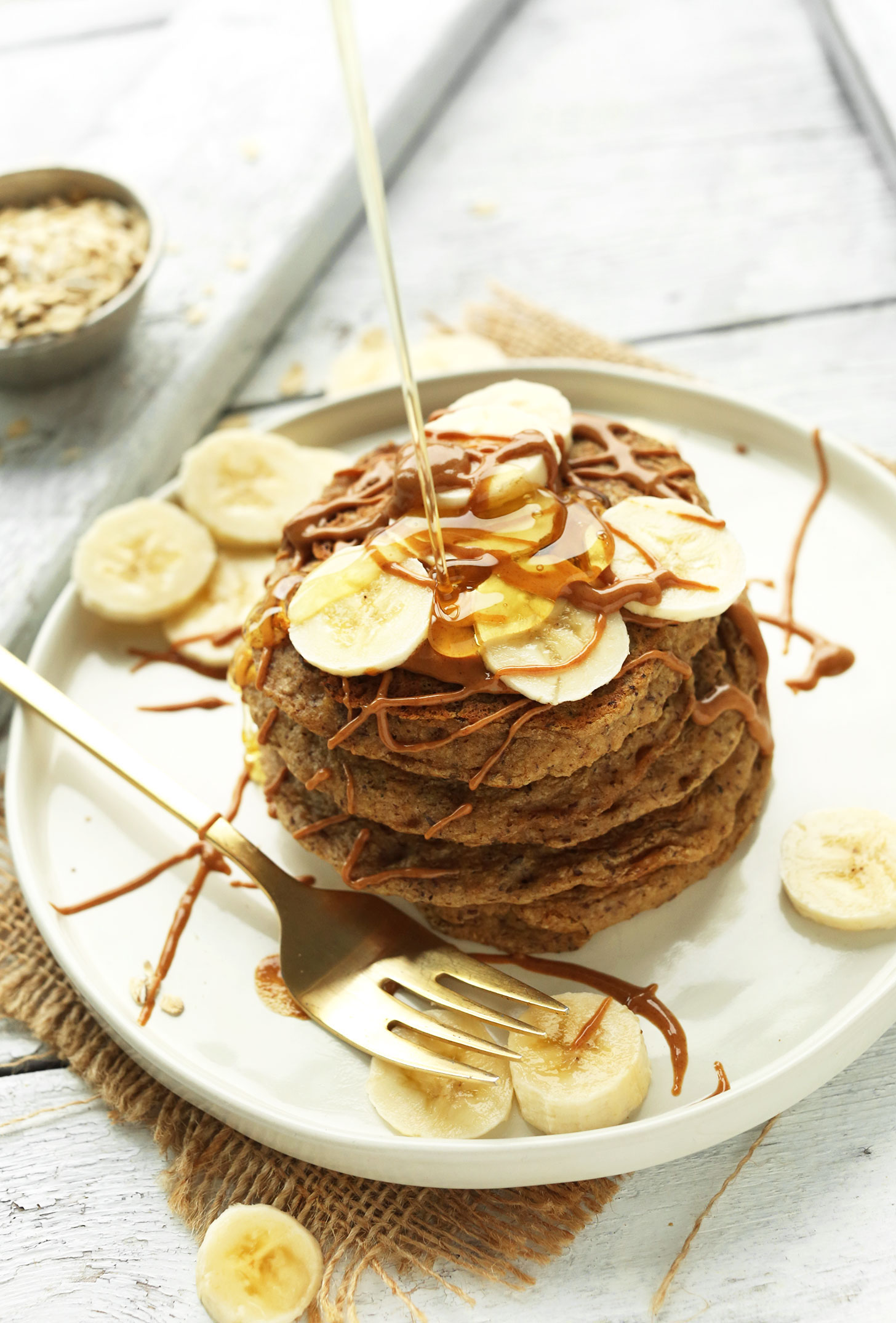 Photo of our Peanut Butter Protein Pancakes that was distributed as a recipe freebie in our newsletter