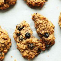 Blueberry Muffin Breakfast Cookie split in half